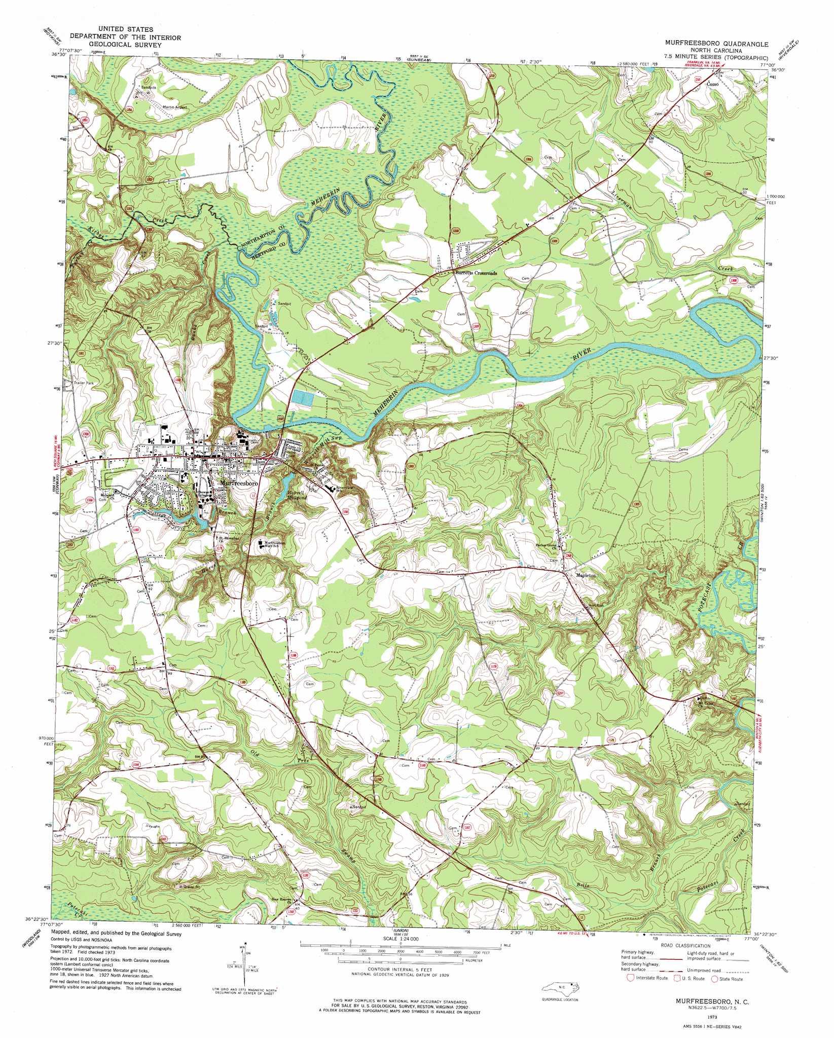 Murfreesboro Topographic Map Nc Usgs Topo Quad 36077d1