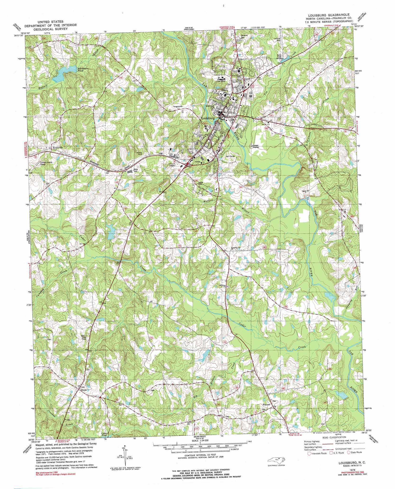 Louisburg Topographic Map Nc Usgs Topo Quad 36078a3