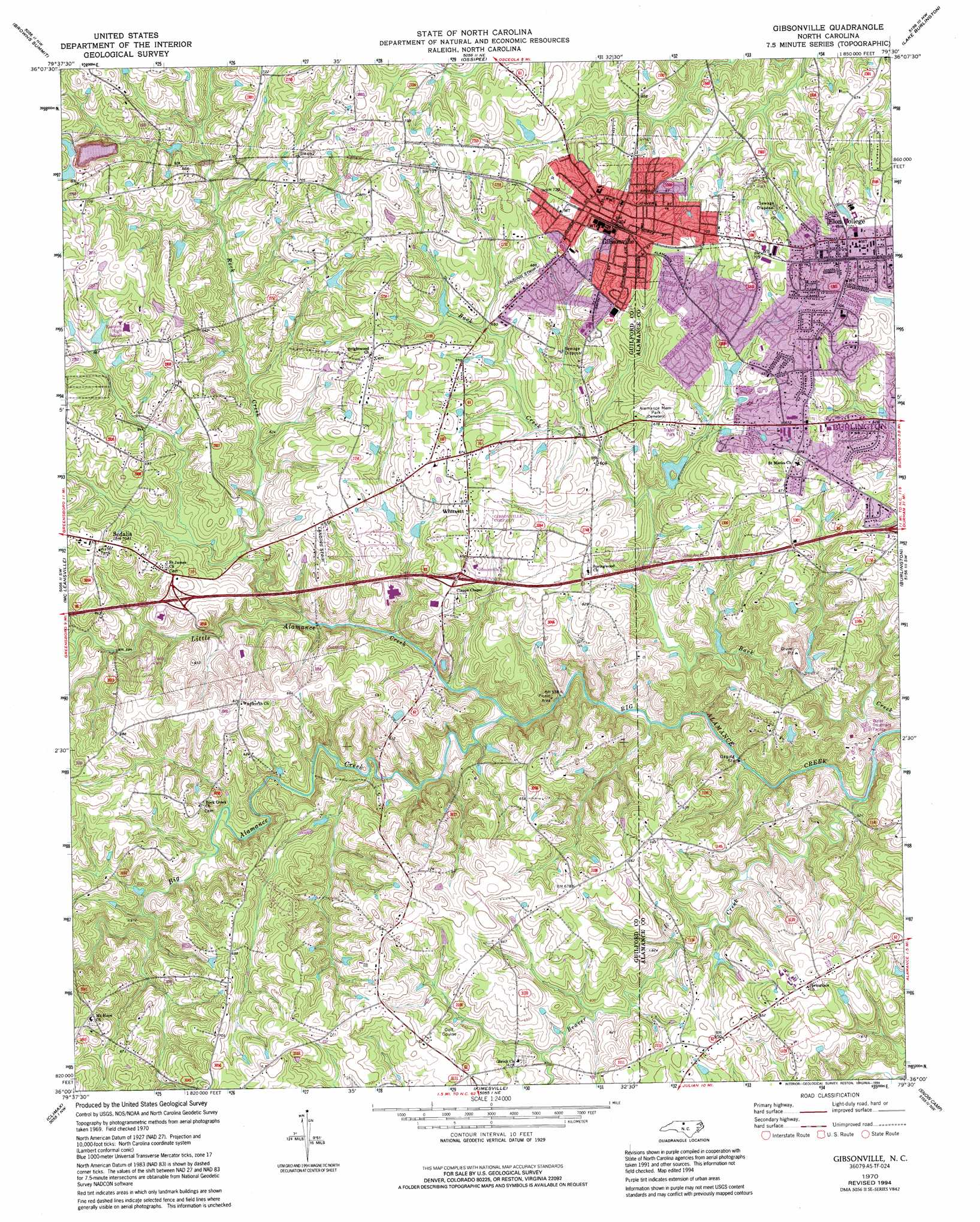 Gibsonville Topographic Map Nc Usgs Topo Quad 36079a5
