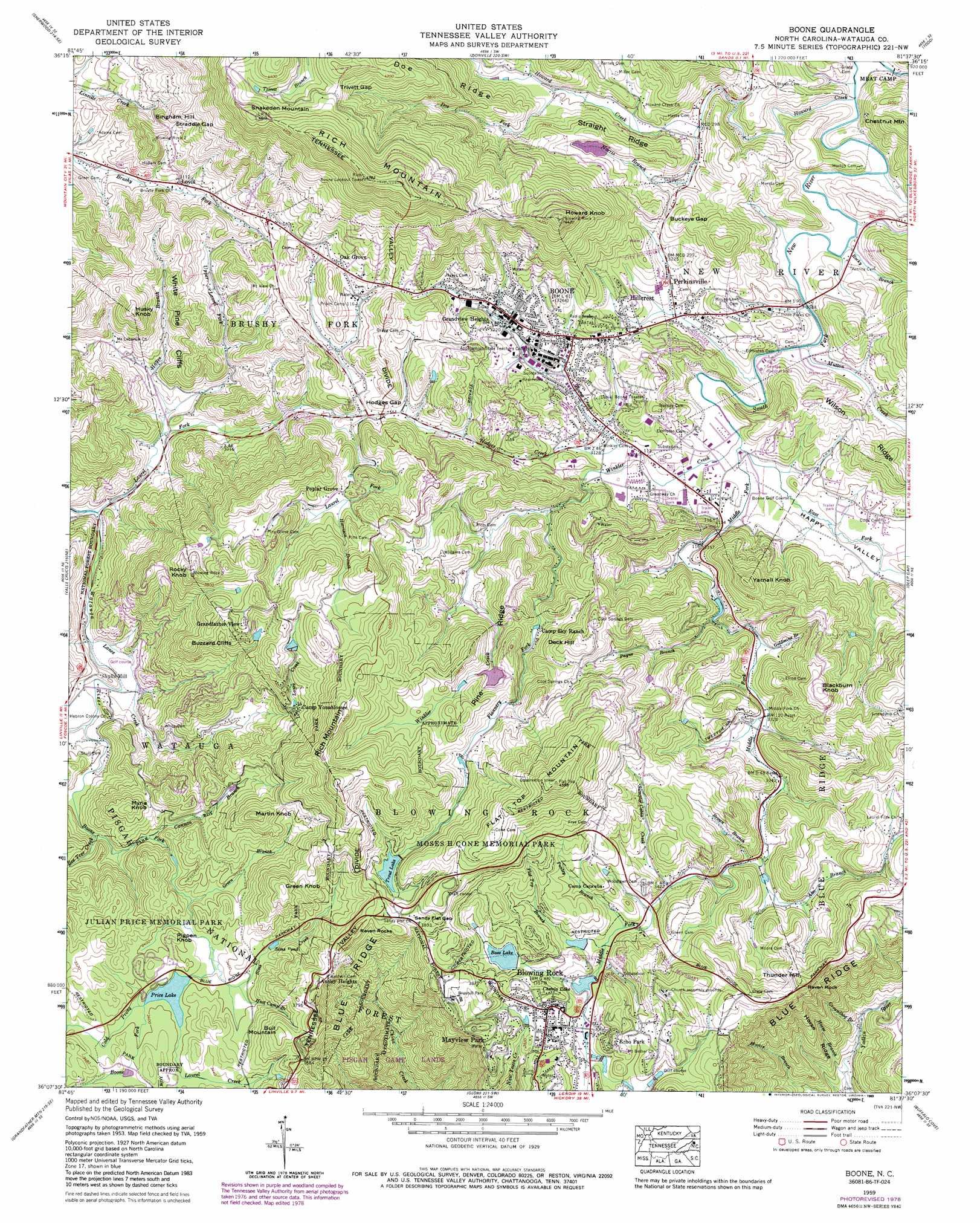 Boone Topographic Map Nc Usgs Topo Quad 36081b6