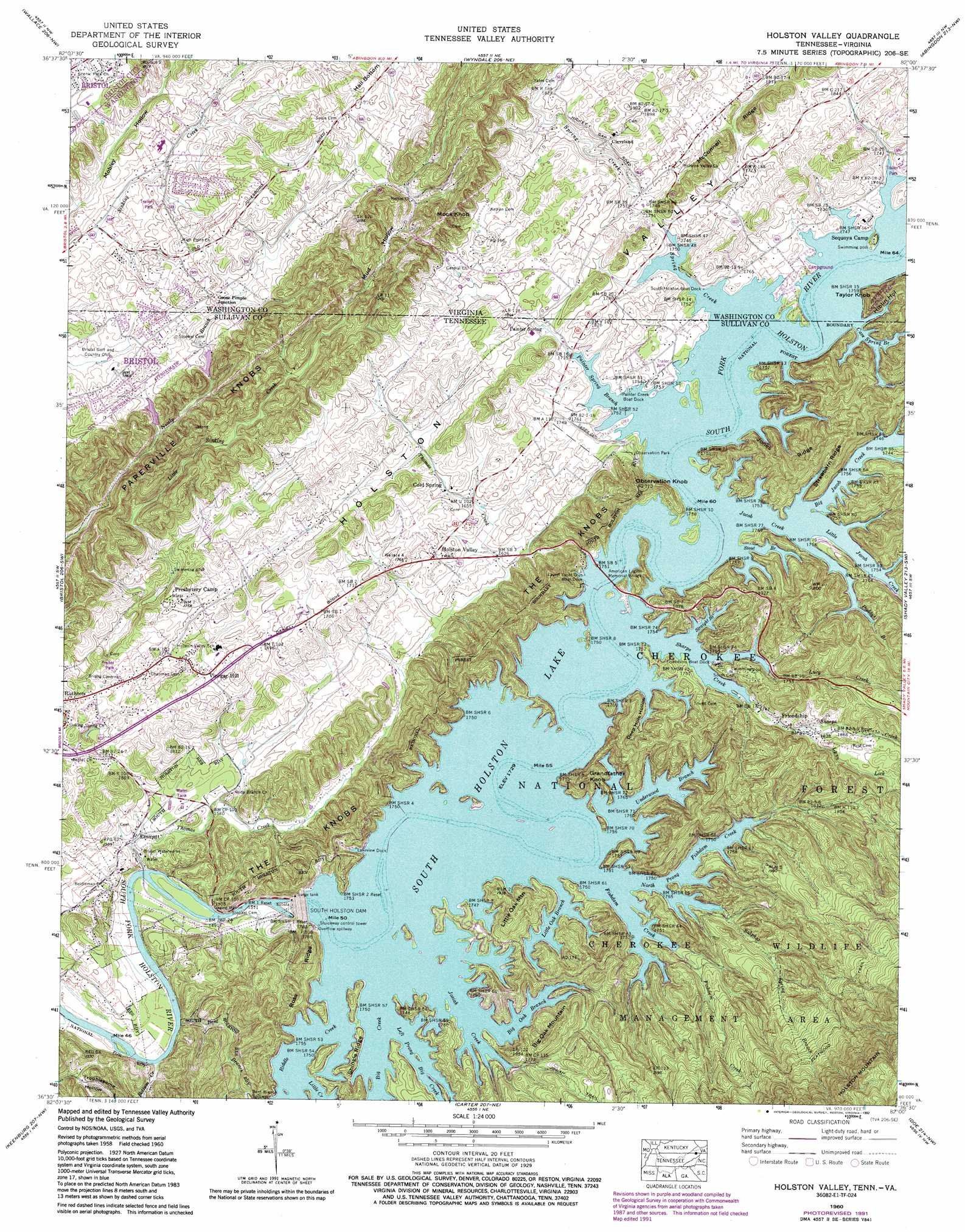 Holston Valley Topographic Map TN VA  USGS Topo Quad