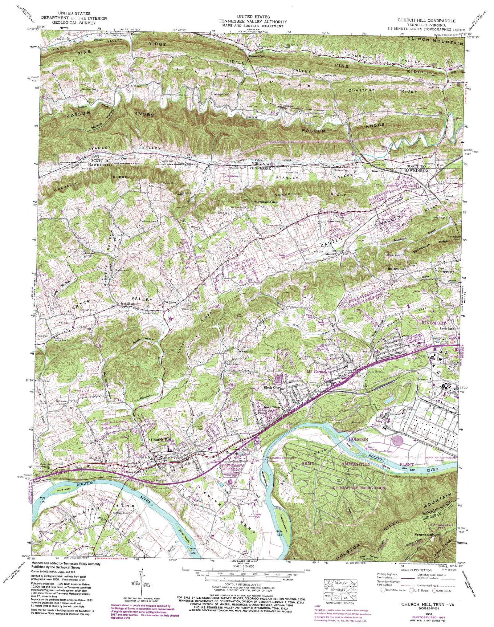 Church Hill Topographic Map TN VA  USGS Topo Quad 36082e6