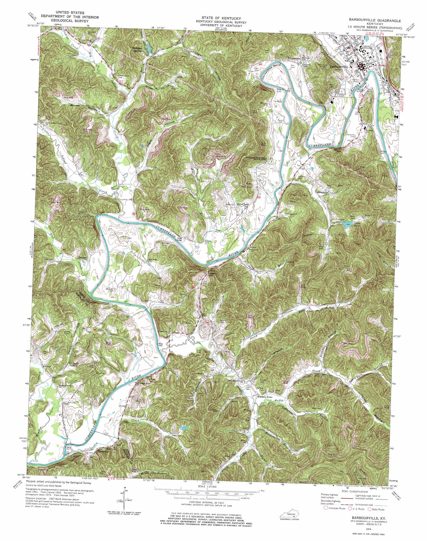 Barbourville Topographic Map KY  USGS Topo Quad 36083g8