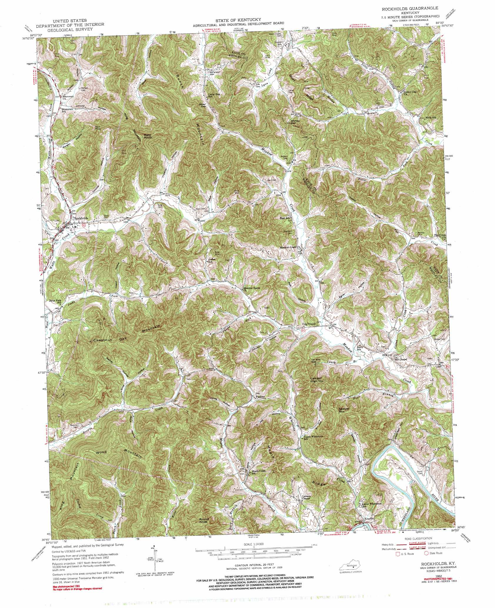 Rockholds Topographic Map KY  USGS Topo Quad 36084g1
