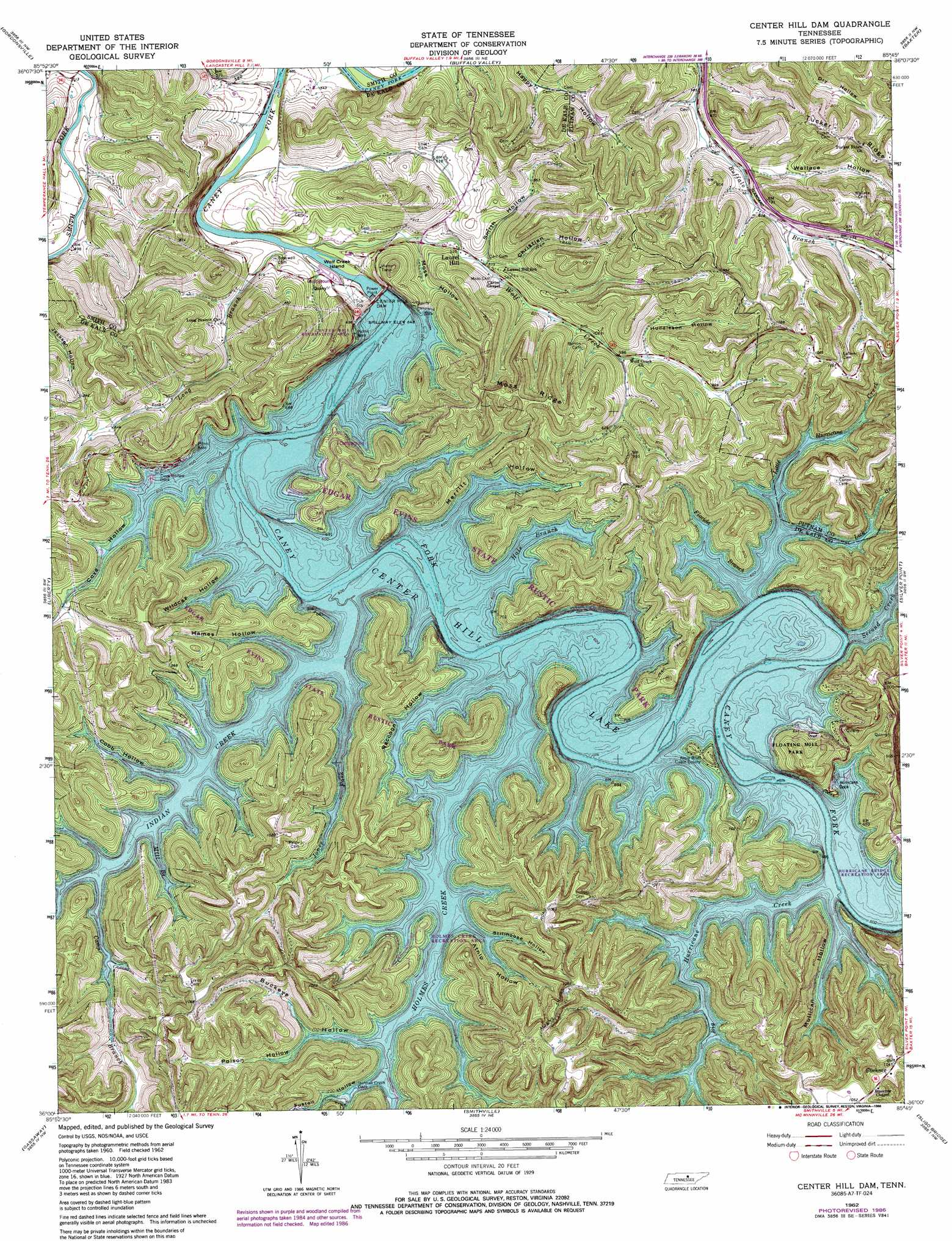 Center Hill Dam topographic map, TN   USGS Topo Quad 36085a7