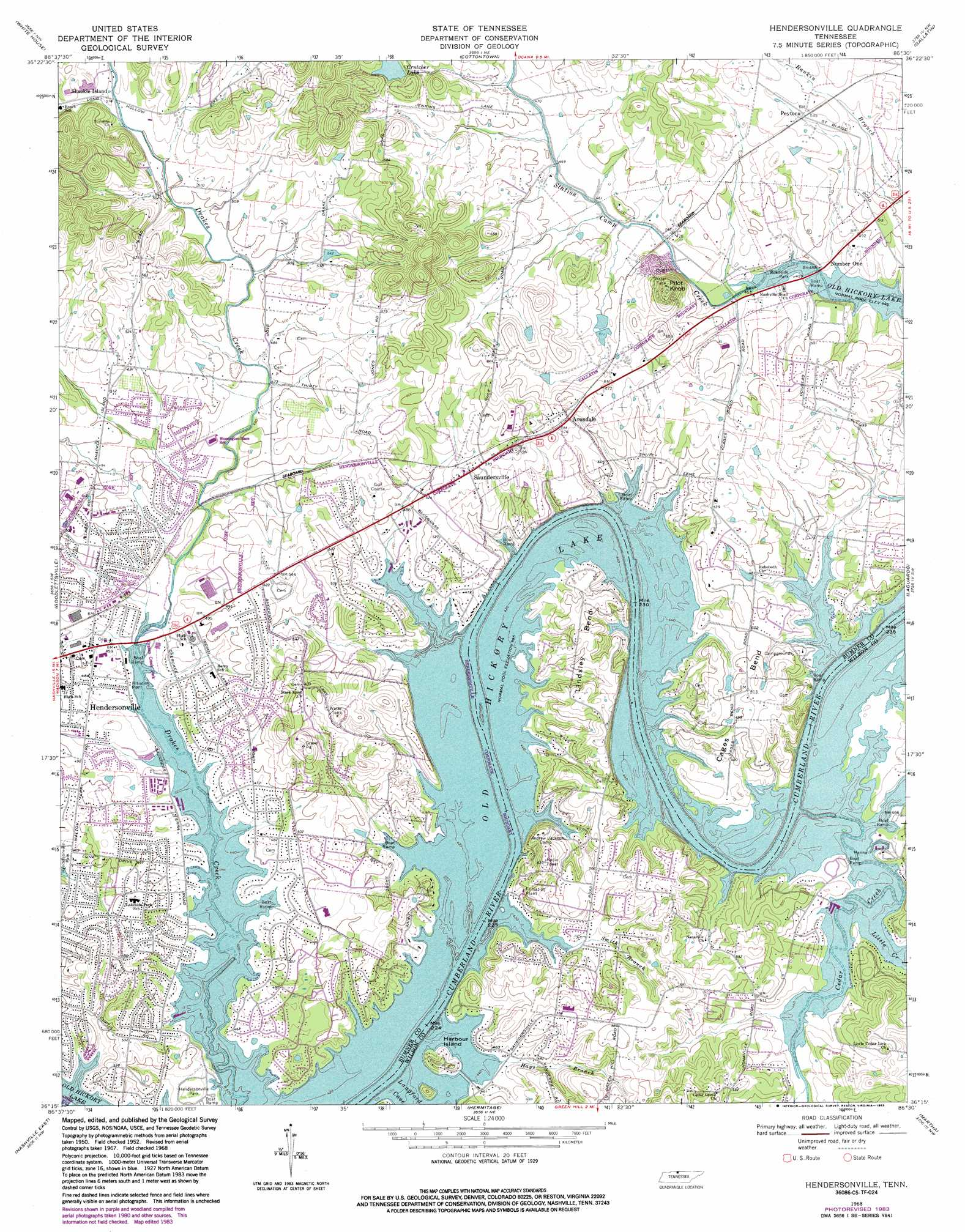 Hendersonville Topographic Map Tn Usgs Topo Quad 36086c5
