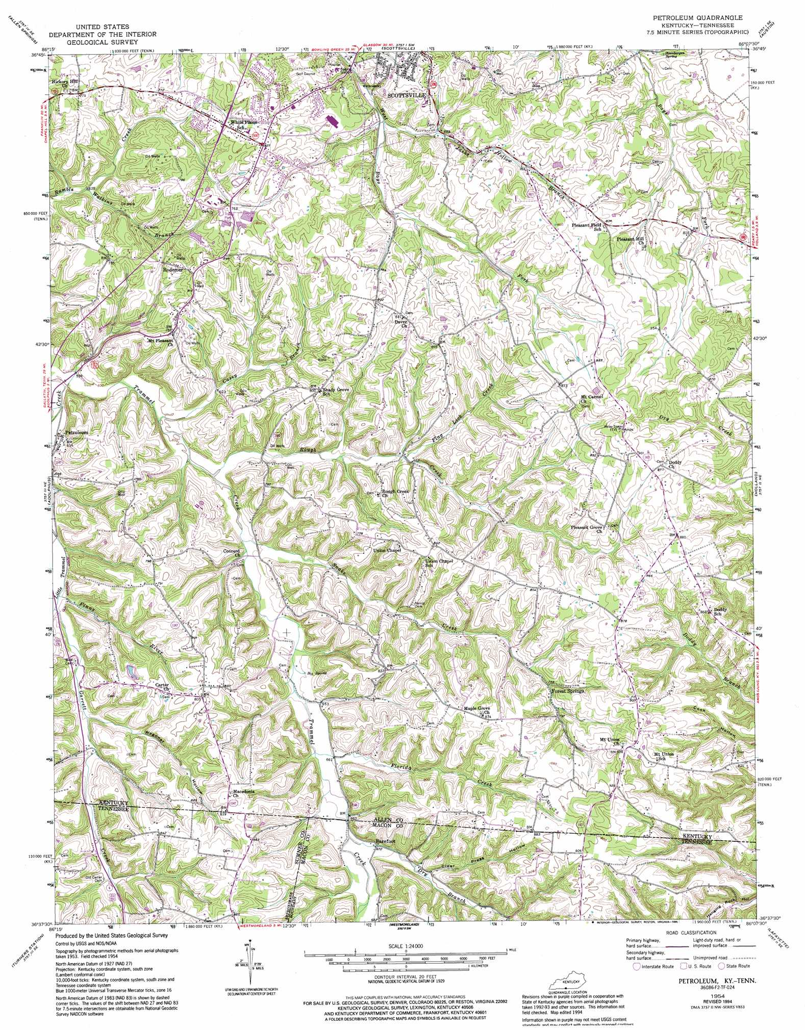 Petroleum Topographic Map KY TN  USGS Topo Quad 36086f2