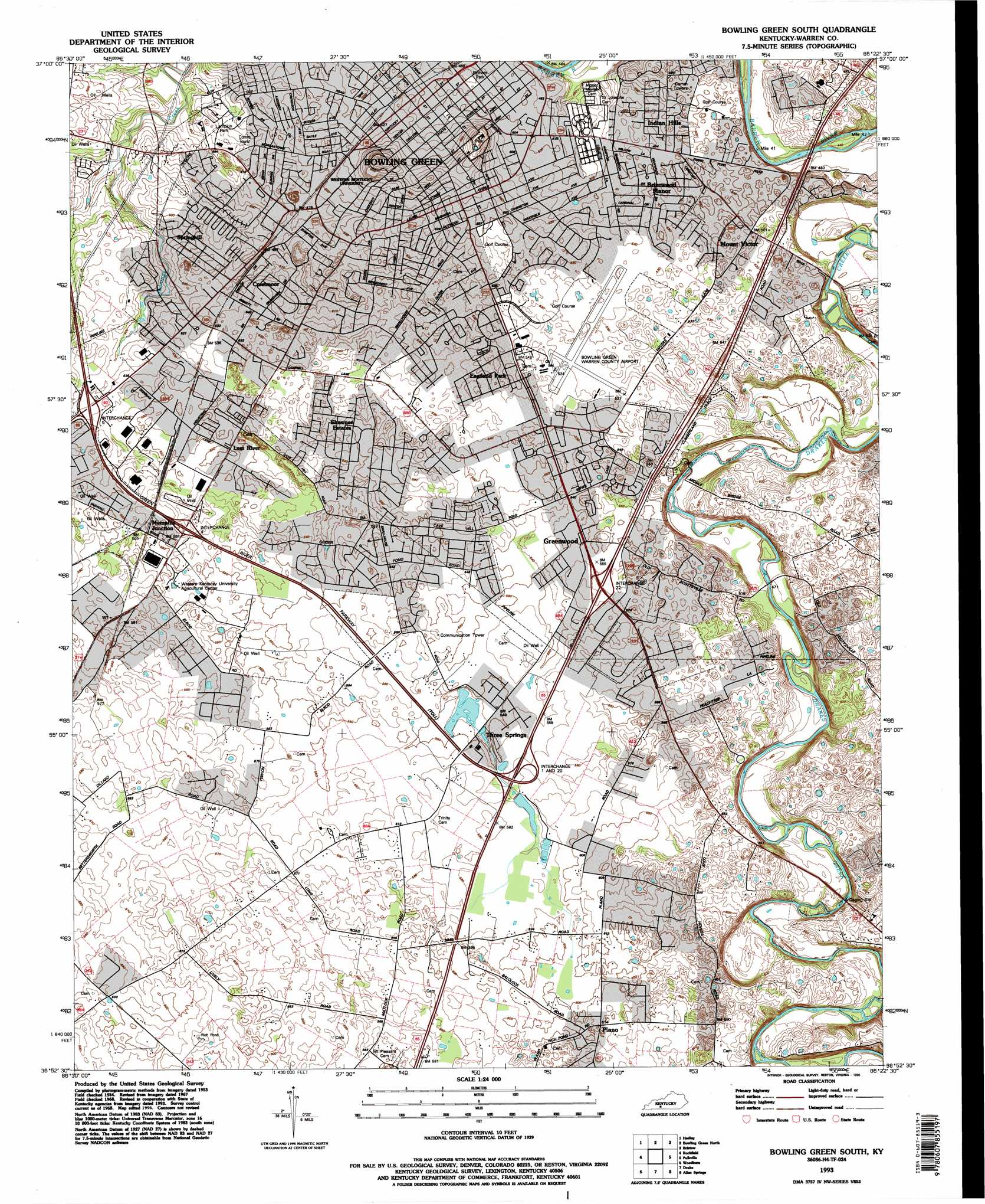 Bowling Green South Topographic Map KY  USGS Topo Quad