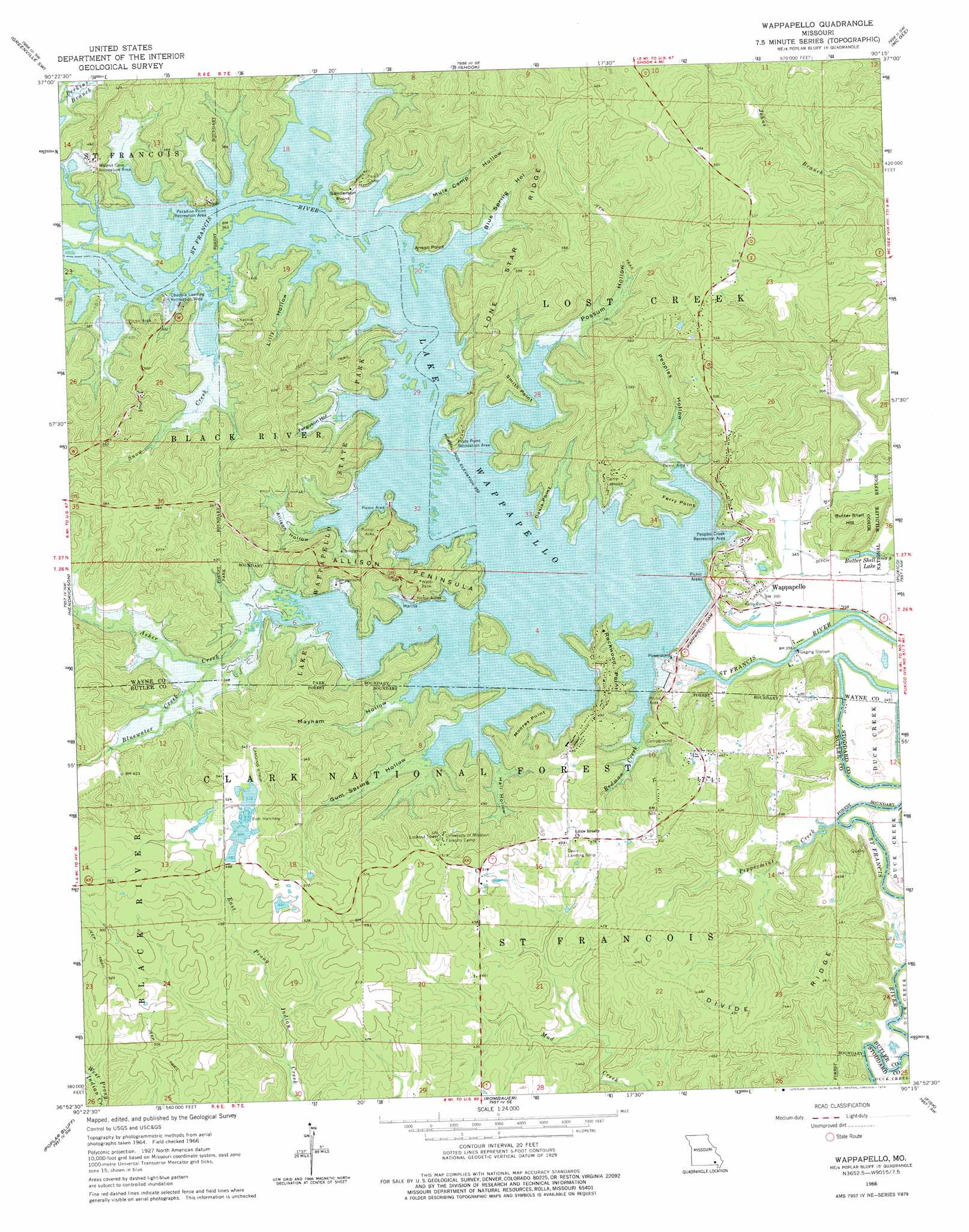 Wappapello Topographic Map MO USGS Topo Quad H - Missouri lakes map