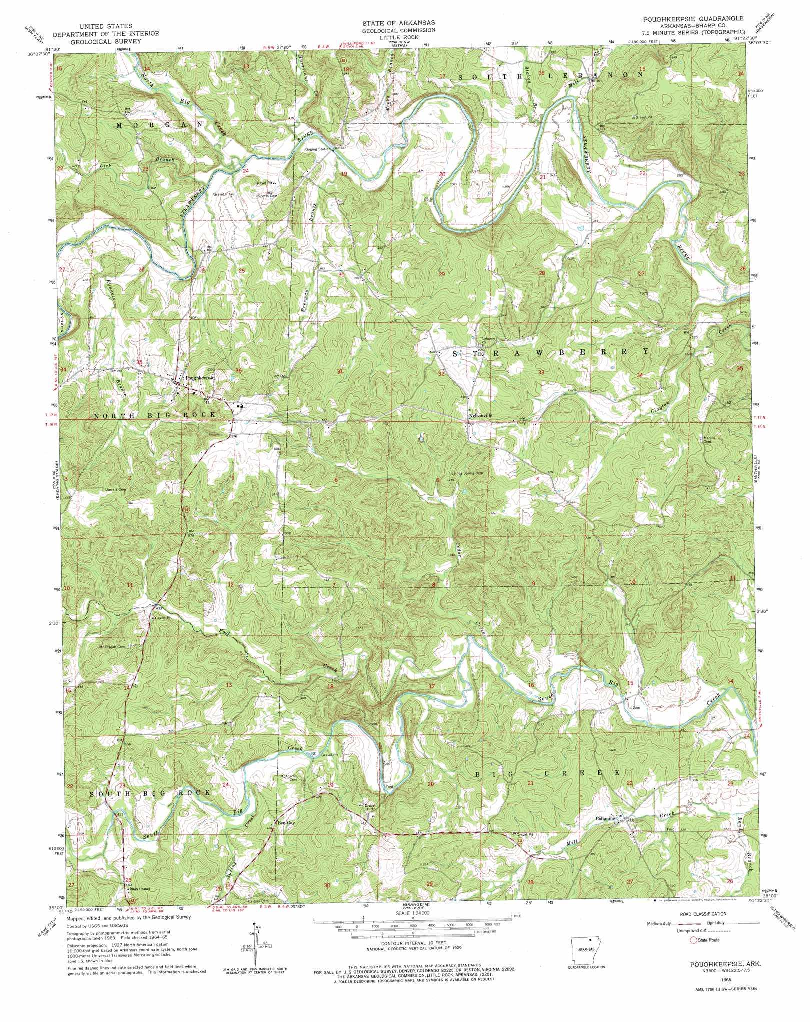 Poughkeepsie topographic map, AR - USGS Topo Quad 36091a4