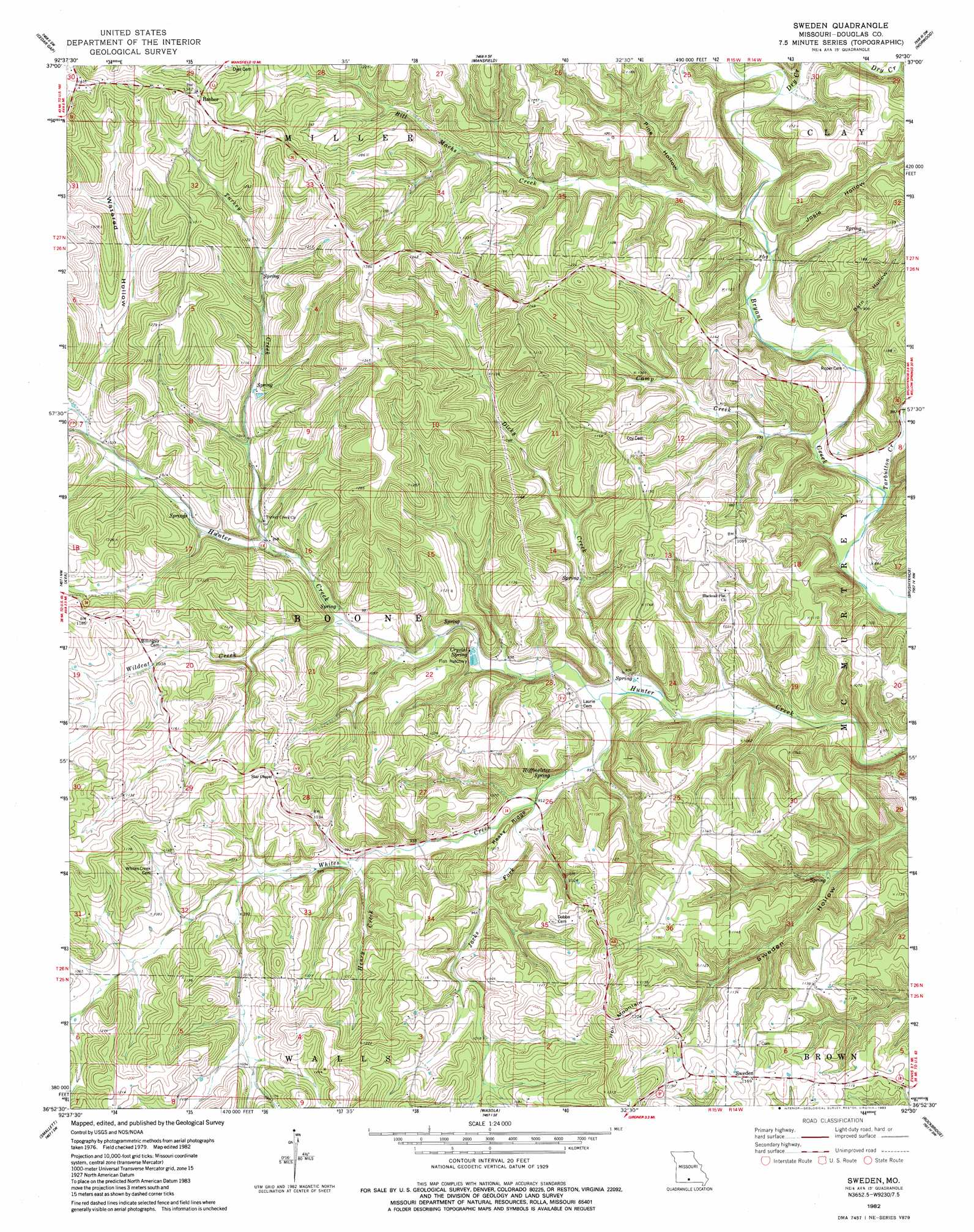 Sweden topographic map MO USGS Topo Quad 36092h5