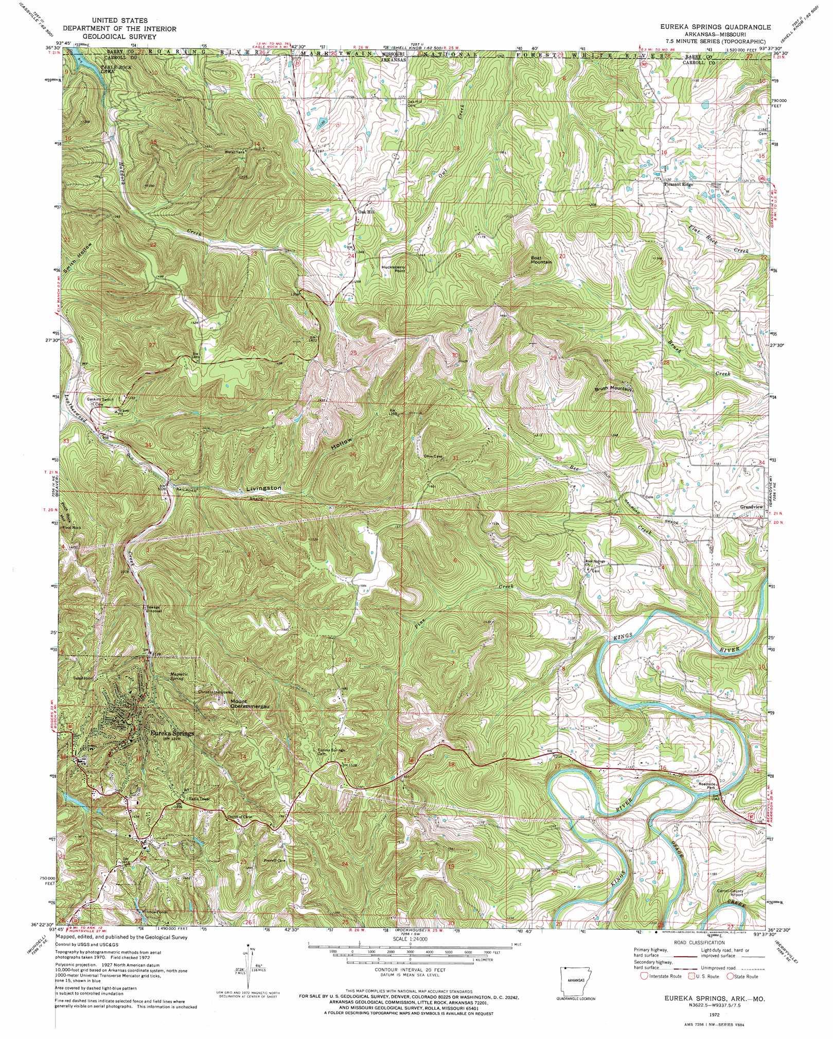 Eureka Springs Topographic Map Ar Mo Usgs Topo Quad 36093d6