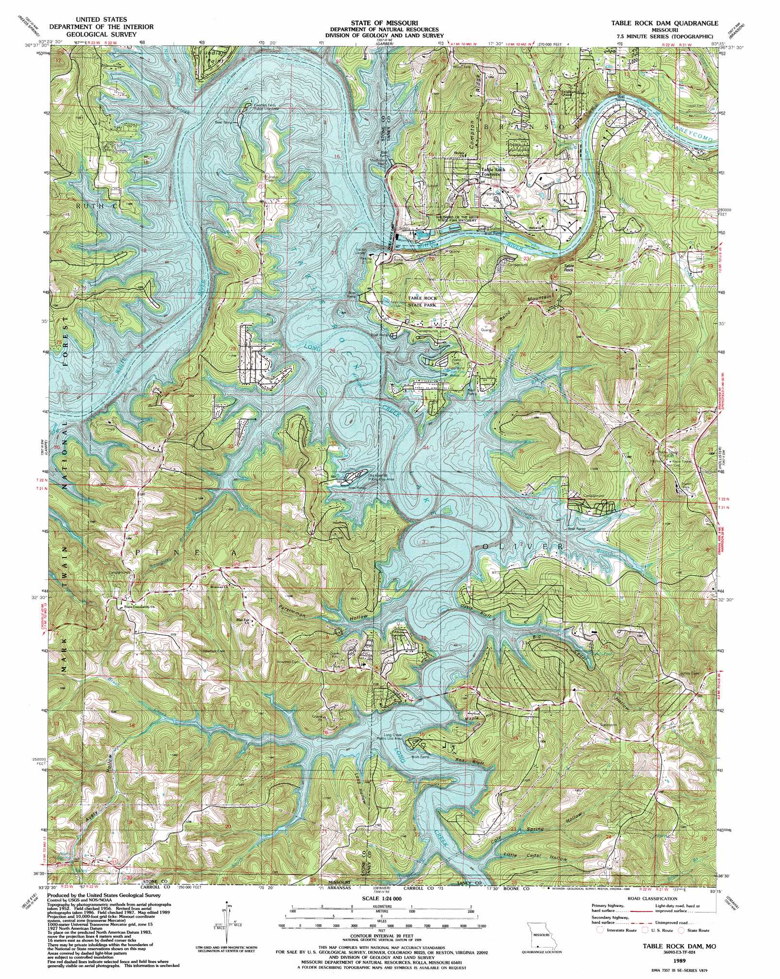 table rock lake topographic map Table Rock Dam Topographic Map Mo Usgs Topo Quad 36093e3 table rock lake topographic map