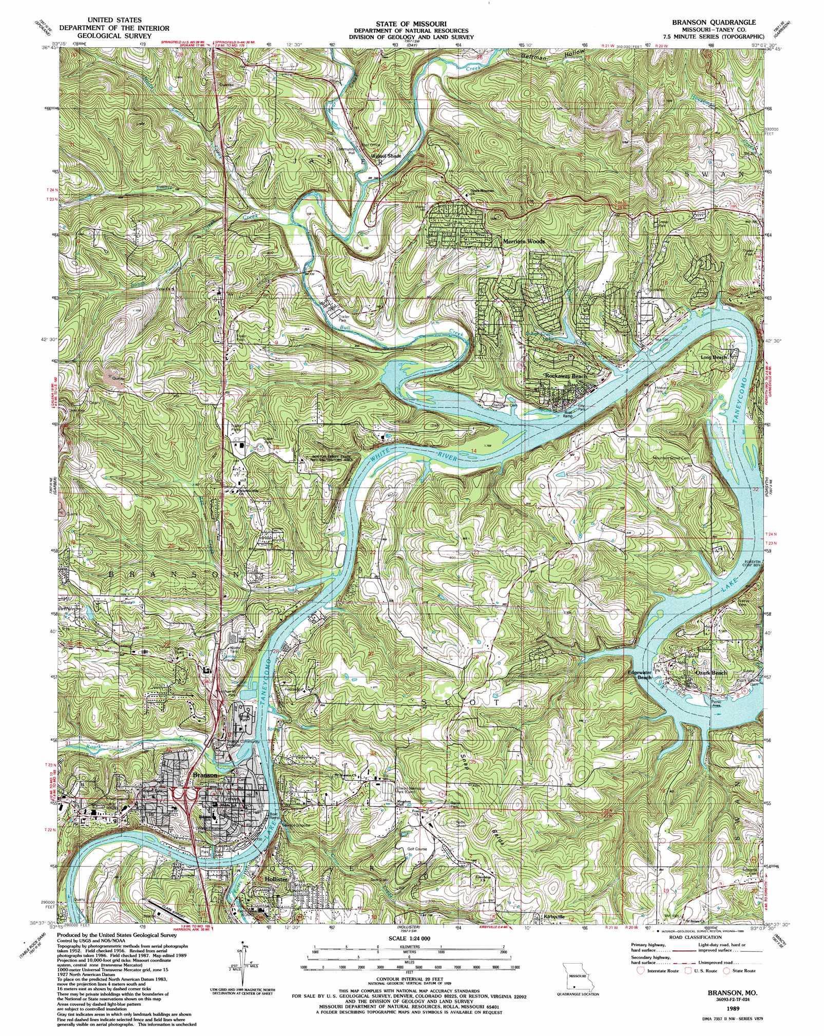 Branson Topographic Map MO USGS Topo Quad F - Printable map of branson mo