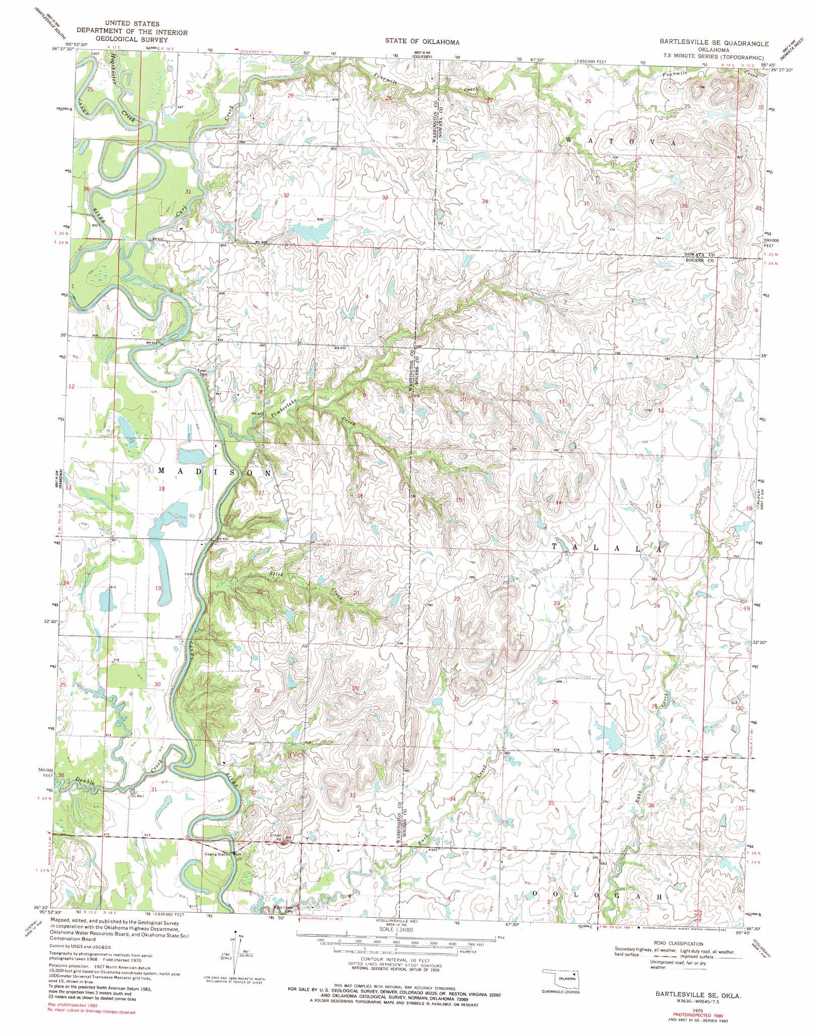 Bartlesville Se topographic map OK USGS Topo Quad 36095e7