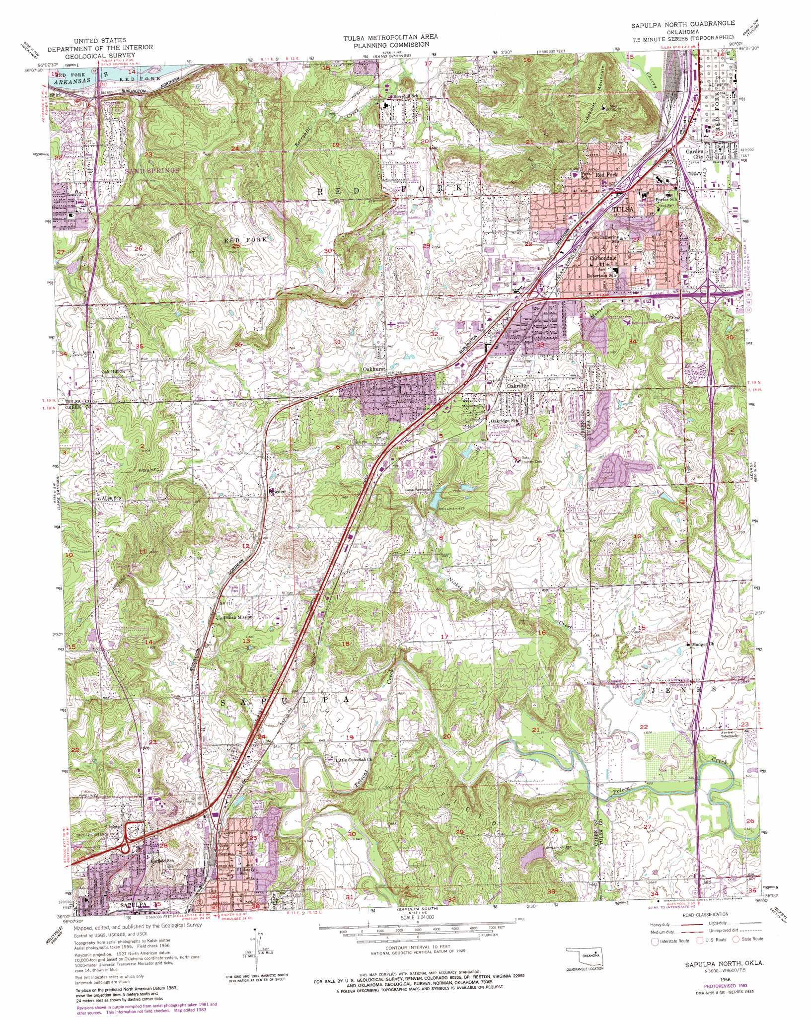 Sapulpa North Topographic Map, OK