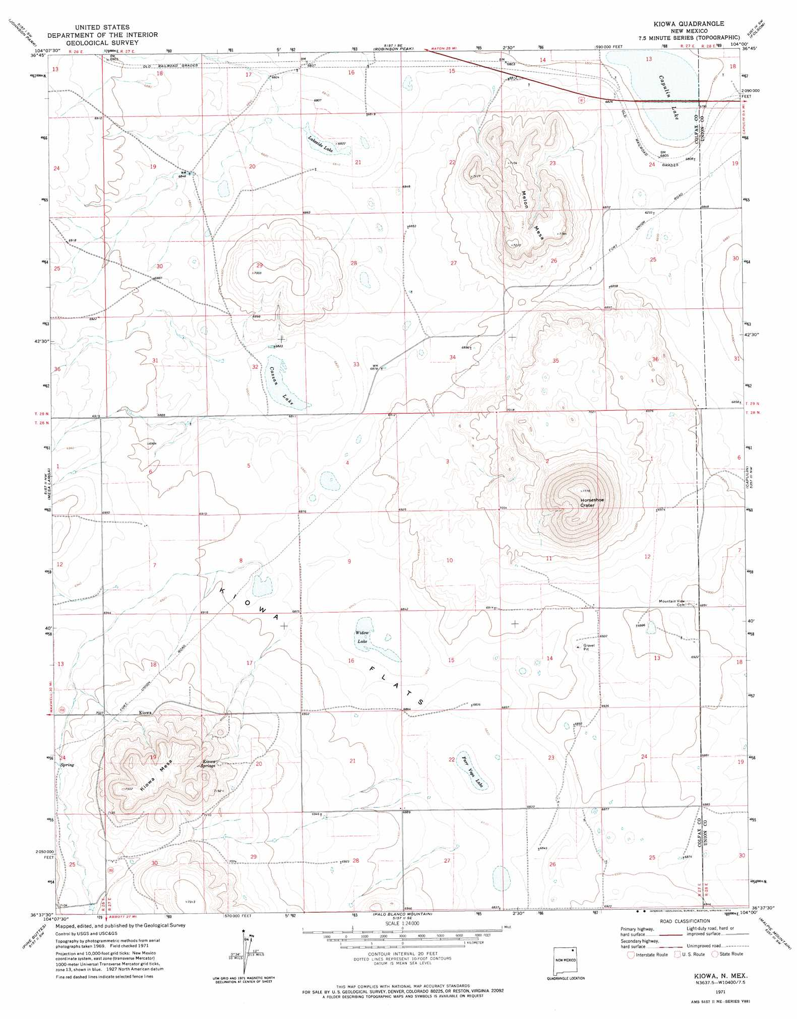 Kiowa topographic map, NM - USGS Topo Quad 36104f1