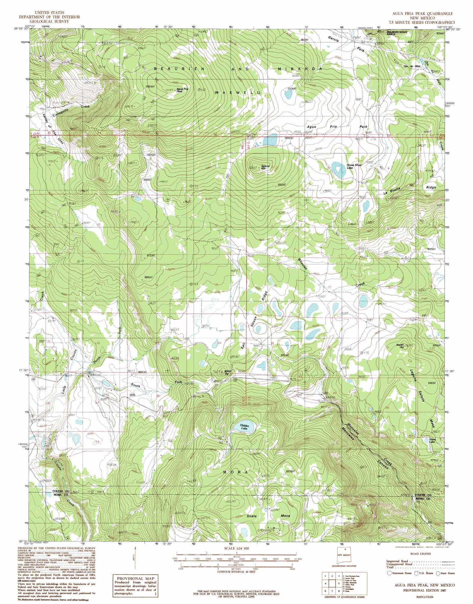 Agua Fria Peak Topographic Map NM USGS Topo Quad C - Topographical map of new mexico