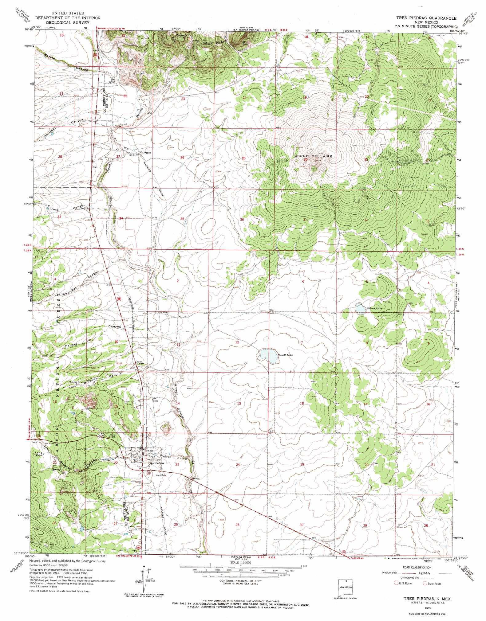 Tres Piedras Topographic Map NM  USGS Topo Quad 36105f8