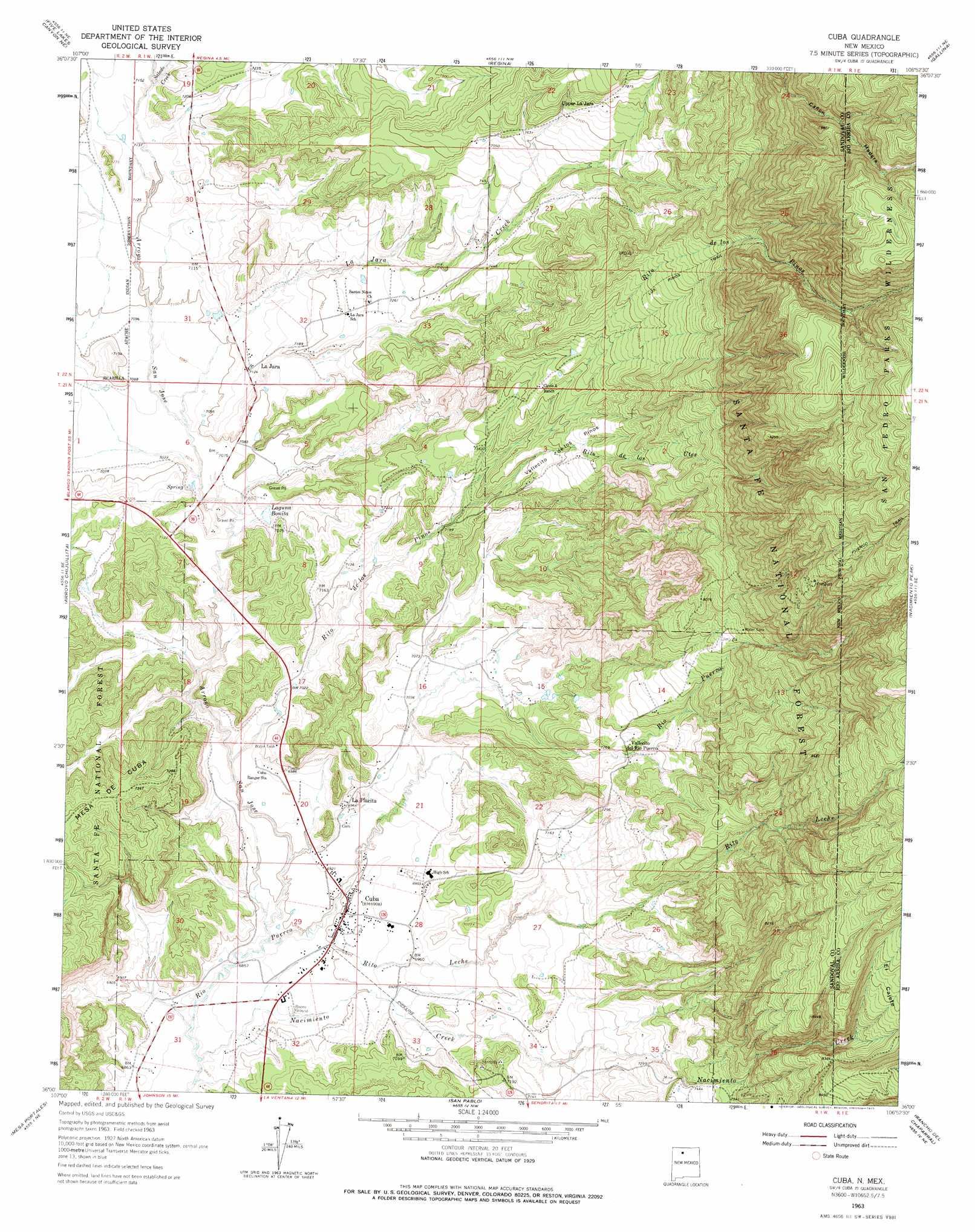 Cuba Topographic Map Nm Usgs Topo Quad 36106a8