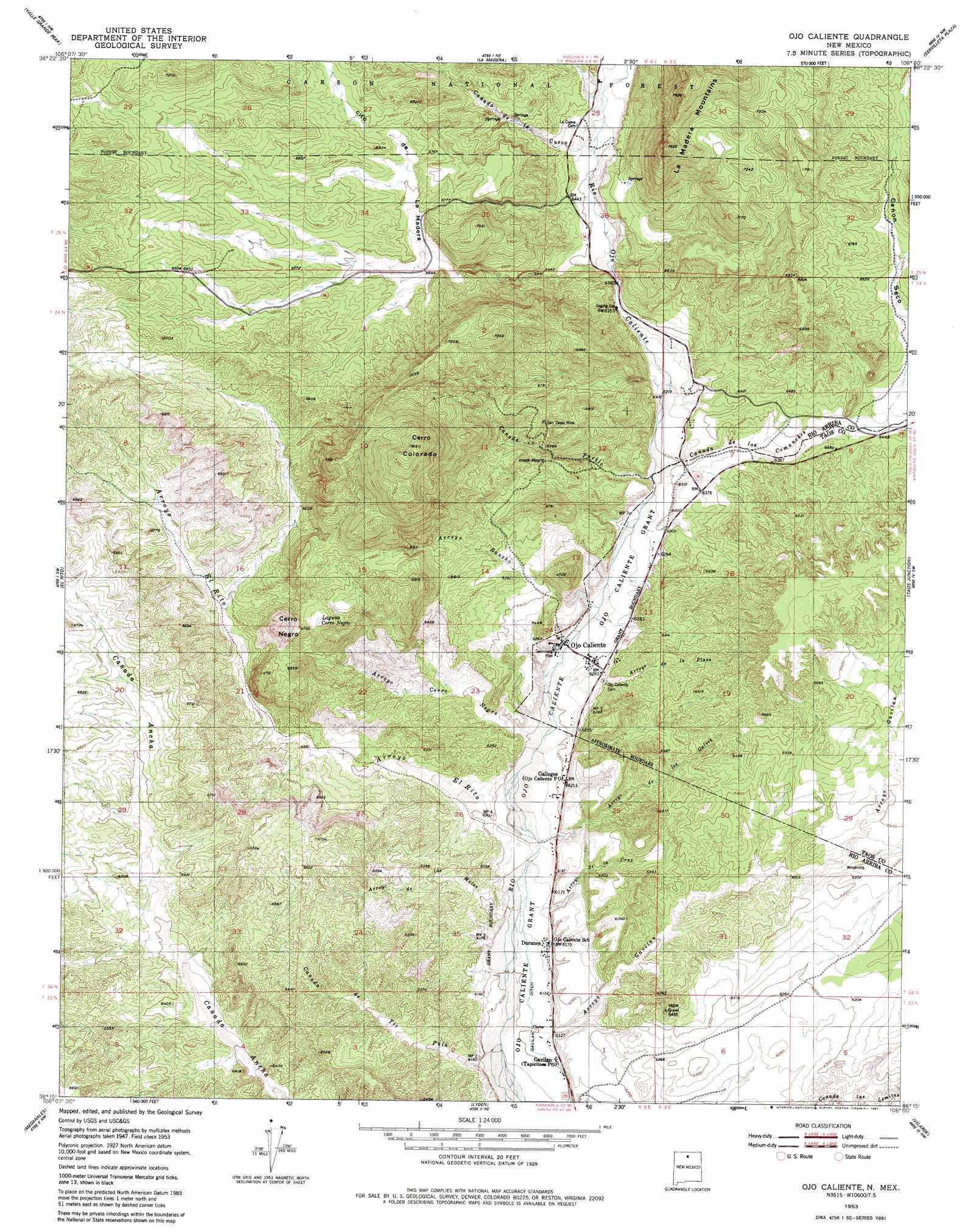 Ojo Caliente Topographic Map NM  USGS Topo Quad 36106c1