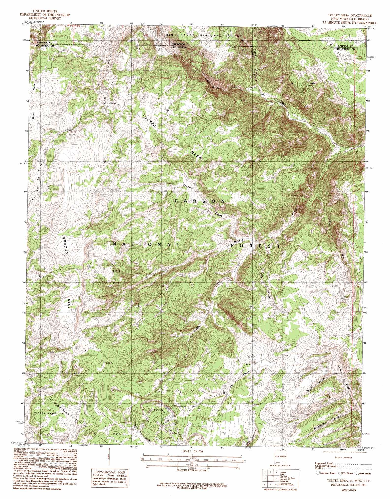 Toltec Mesa topographic map NM CO USGS Topo Quad 36106h3