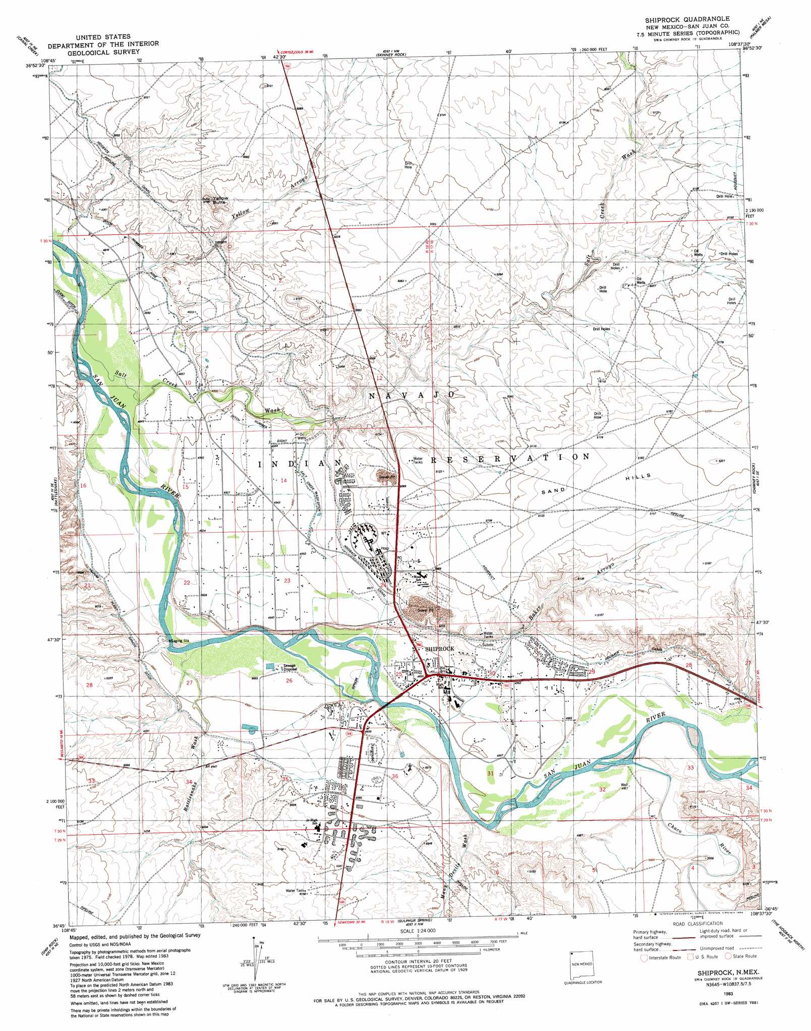 Shiprock Topographic Map NM  USGS Topo Quad 36108g6