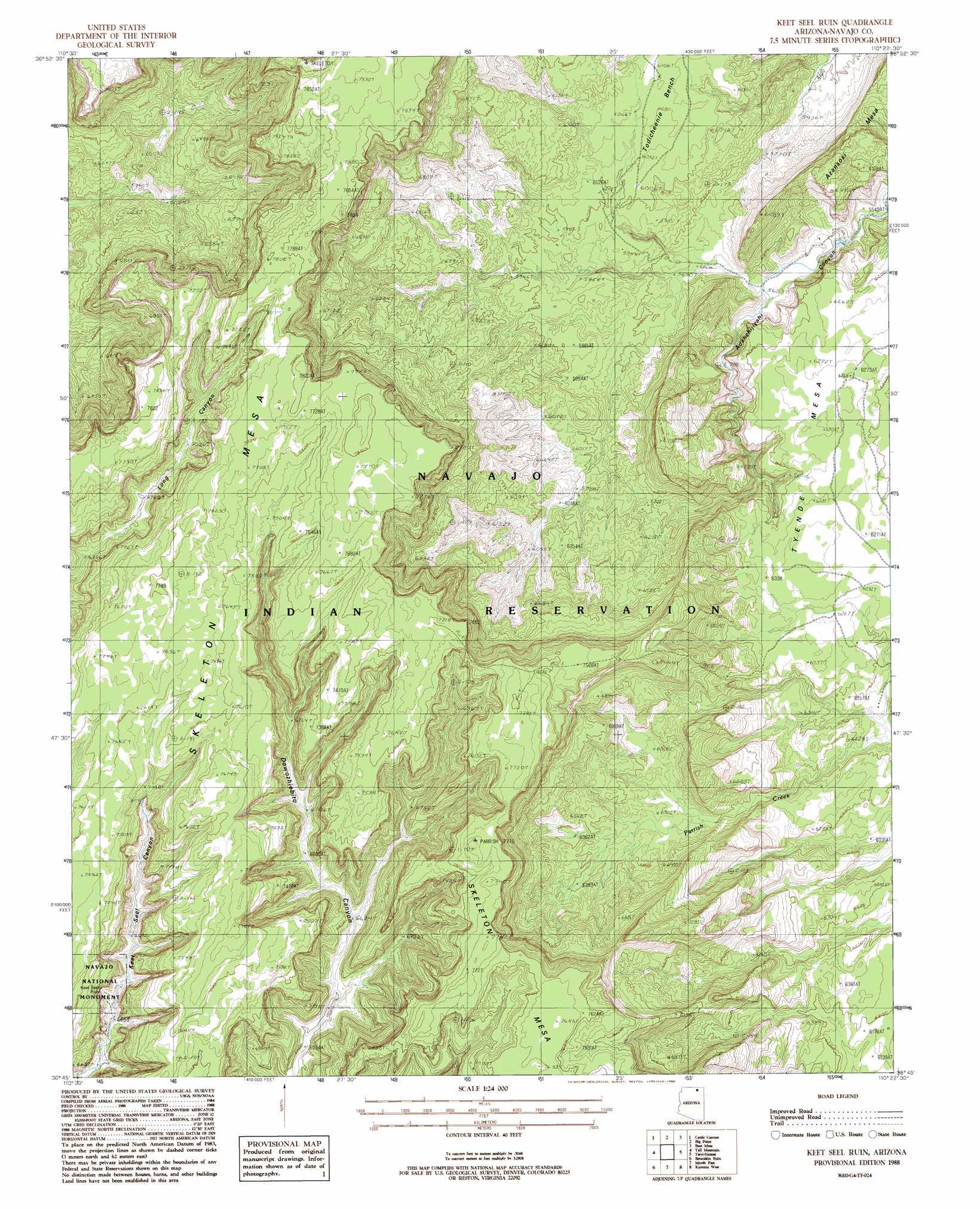 Keet Seel Ruin Topographic Map AZ USGS Topo Quad G - Topo map us