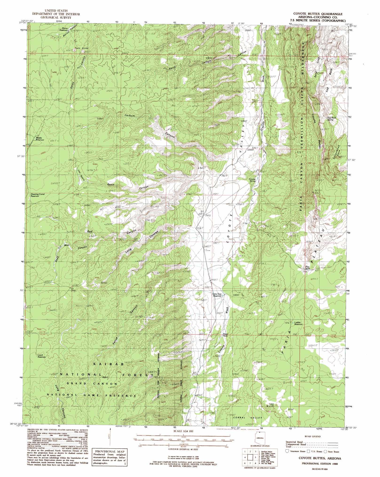 Coyote Buttes topographic map, AZ   USGS Topo Quad 36112h1