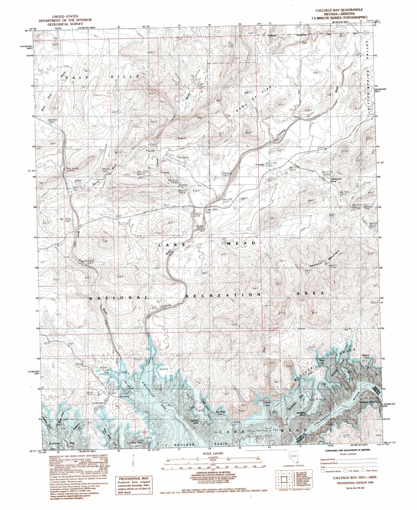 Callville Bay topographic map NV AZ USGS Topo Quad 36114b6