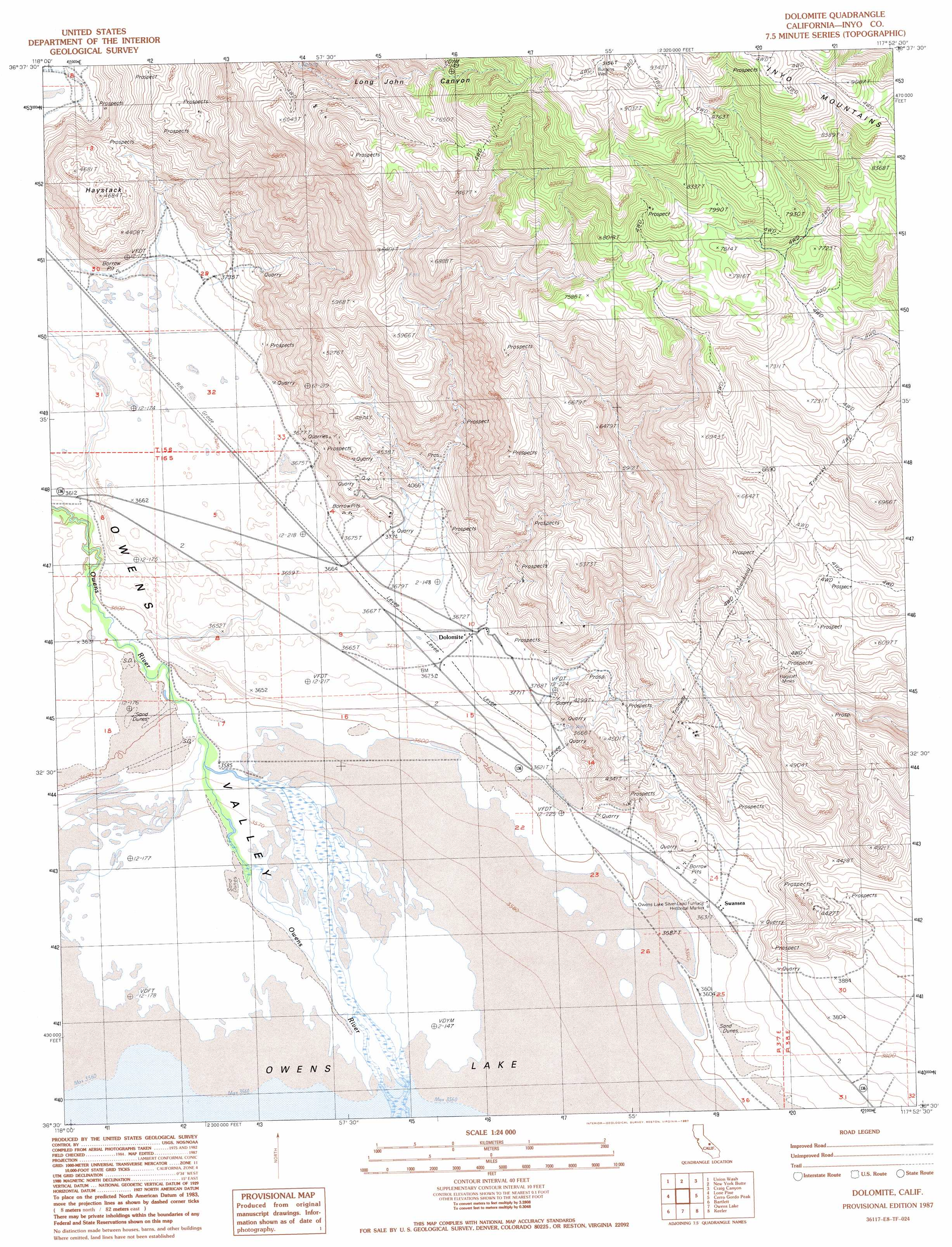 Dolomite Topographic Map CA USGS Topo Quad E - Us geological survey topographic maps for sale
