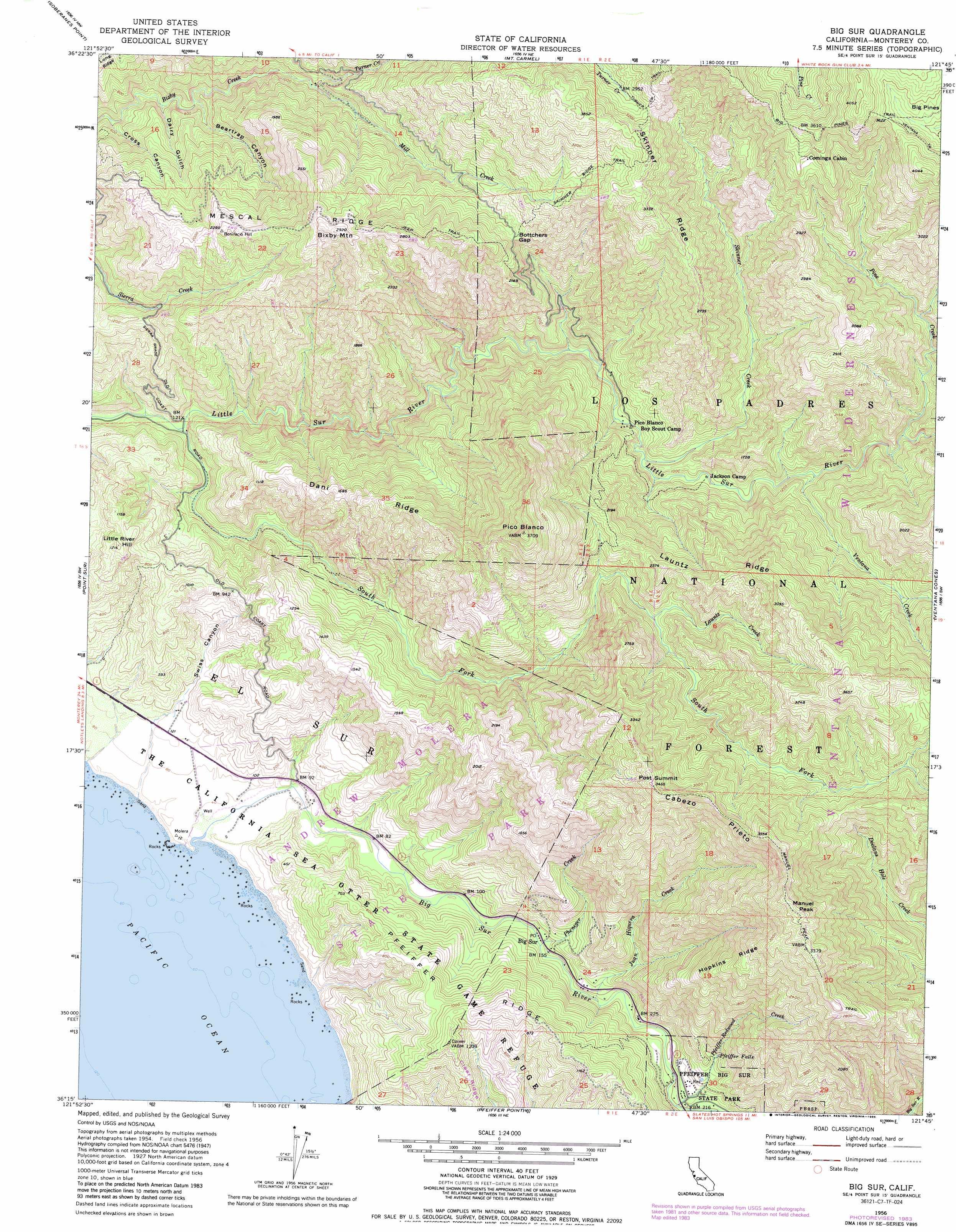 Big Sur topographic map, CA - USGS Topo Quad 36121c7