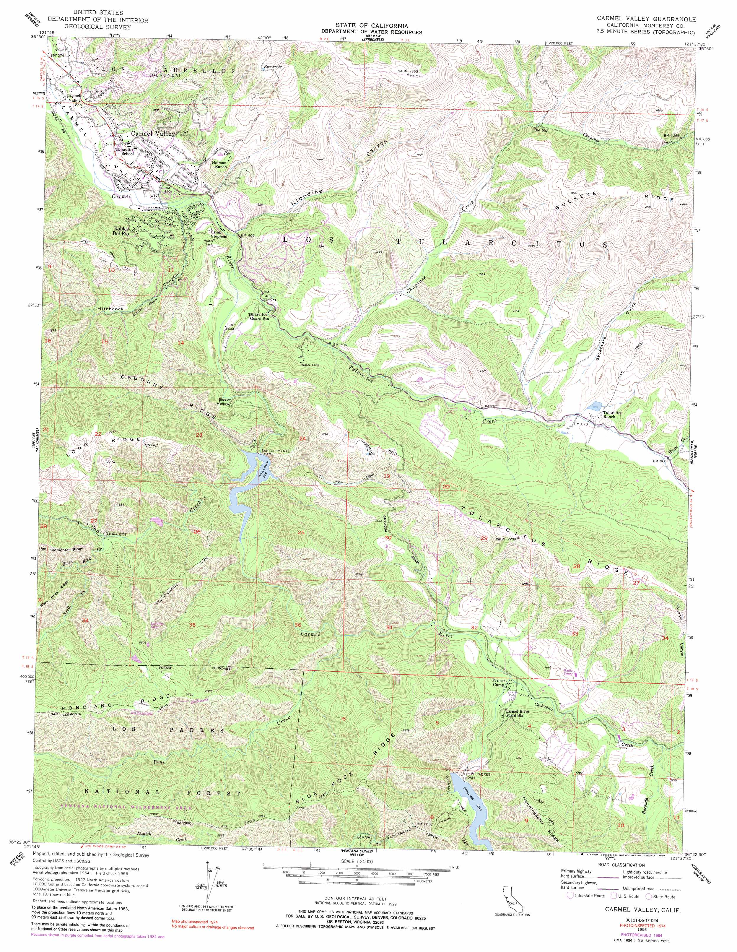 Carmel Valley topographic map CA USGS Topo Quad 36121d6