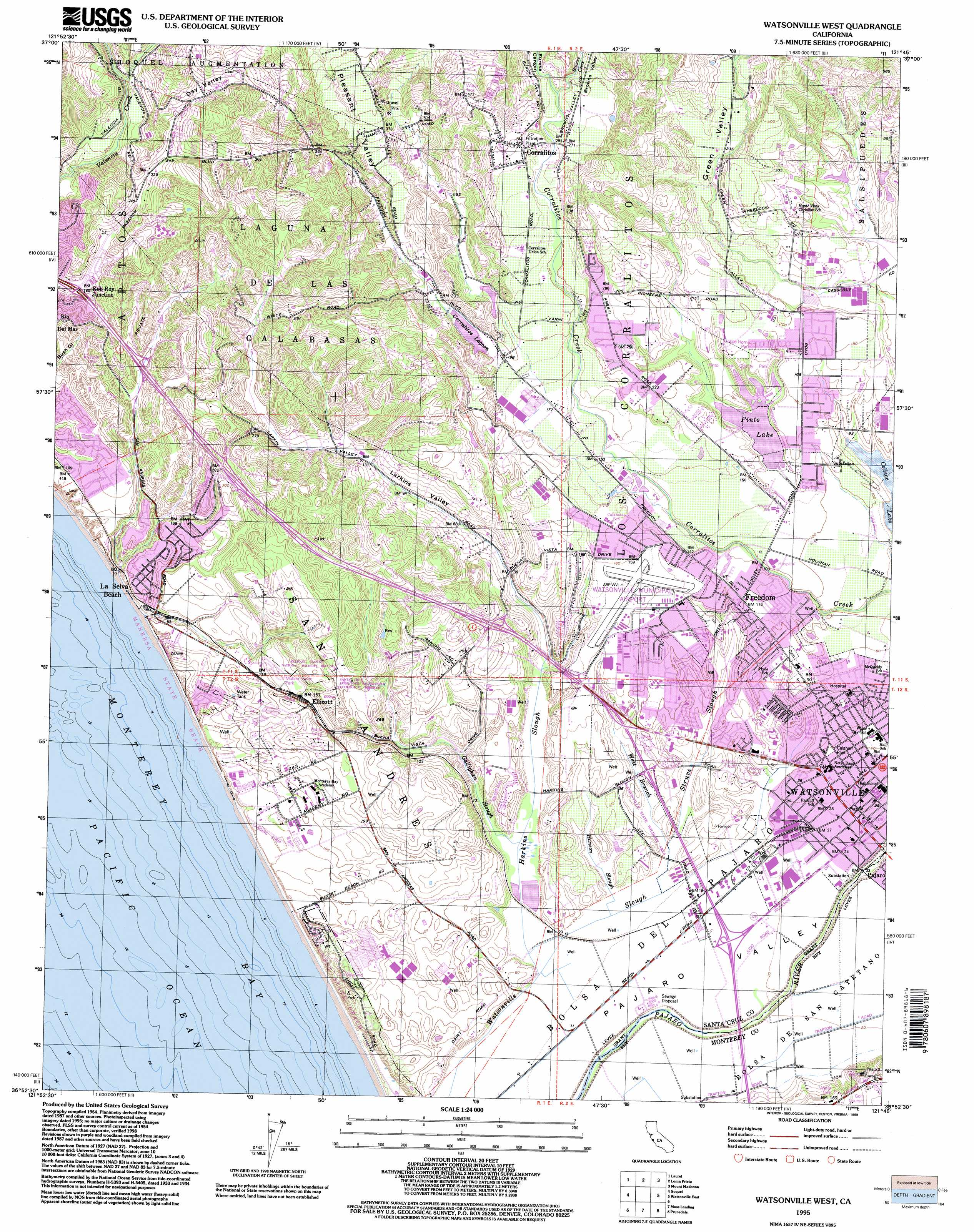 Watsonville West topographic map CA USGS Topo Quad 36121h7