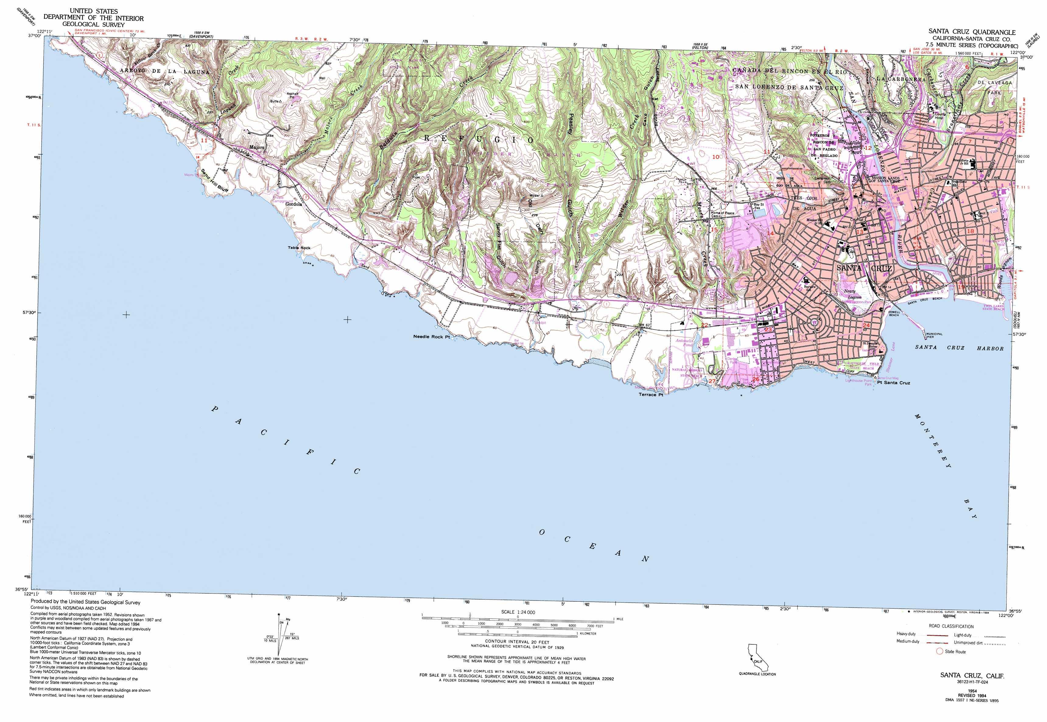Santa Cruz topographic map CA USGS Topo Quad 36122h1
