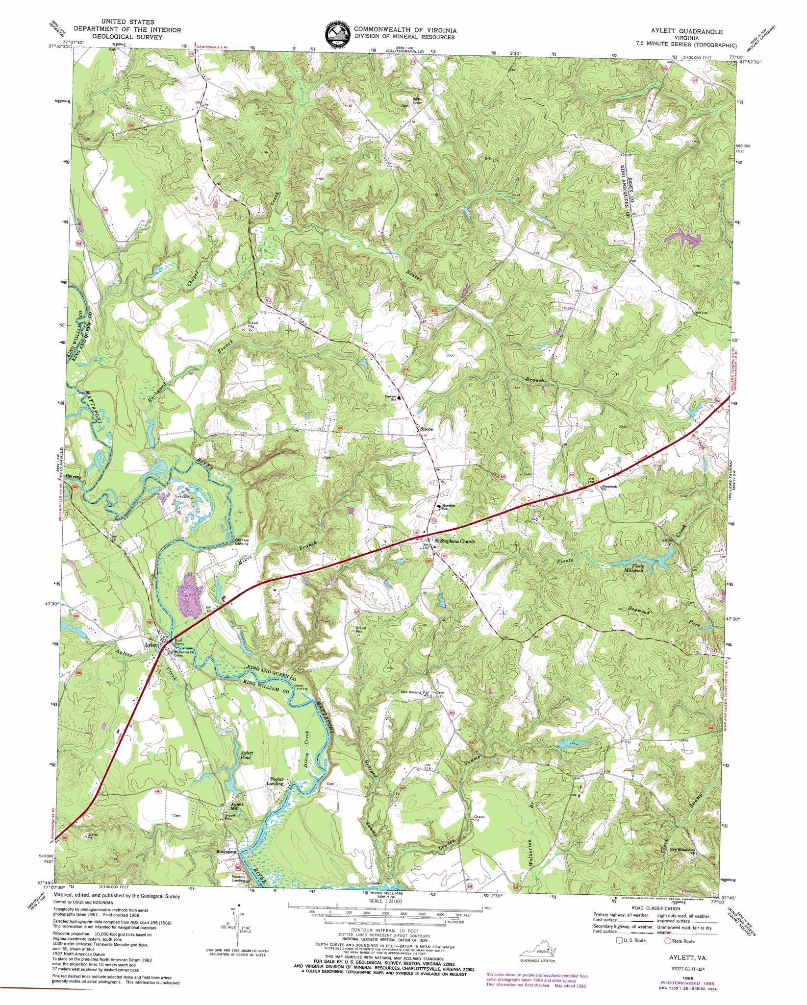 Aylett Topographic Map Va Usgs Topo Quad 37077g1