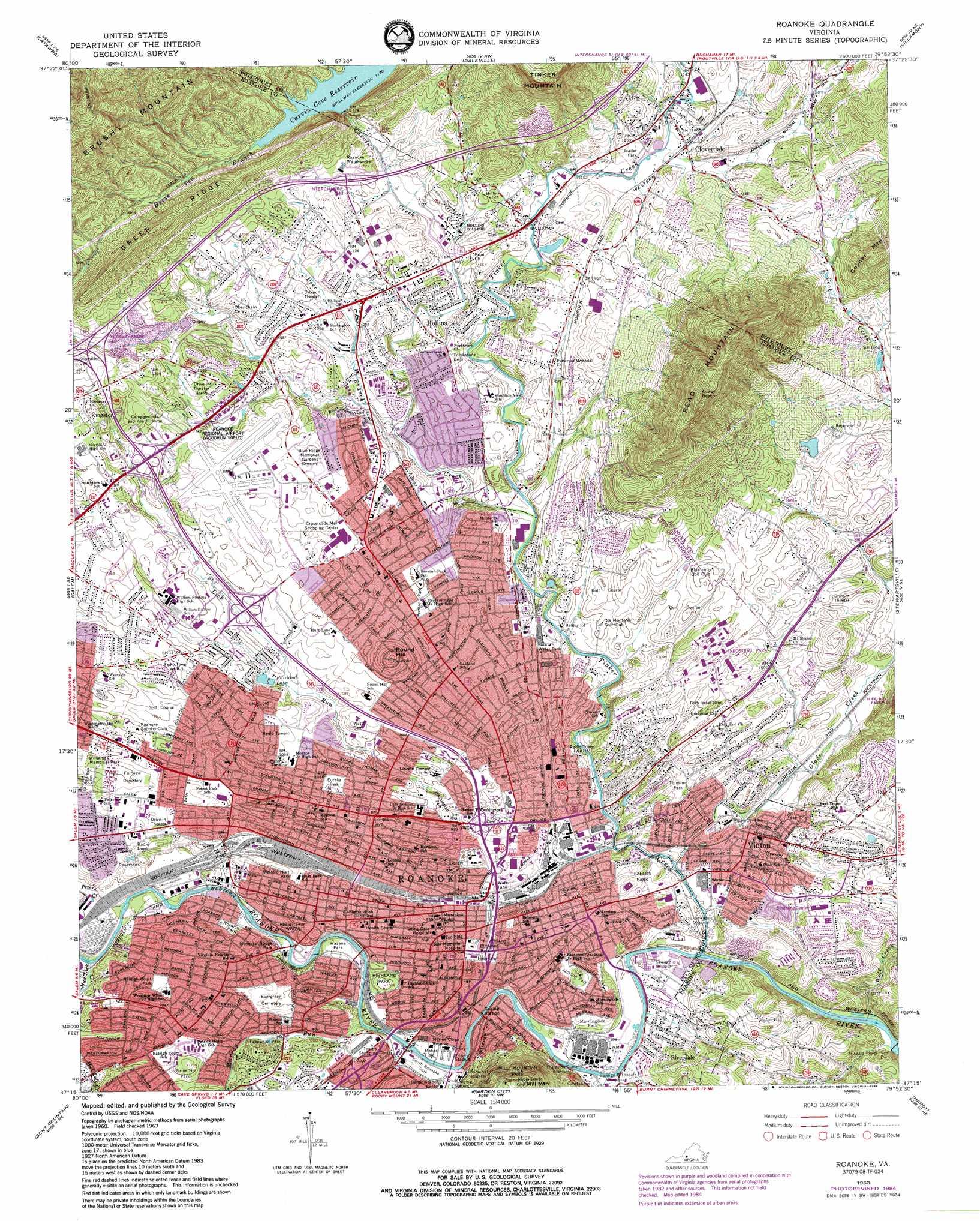 Roanoke Topographic Map VA  USGS Topo Quad 37079c8