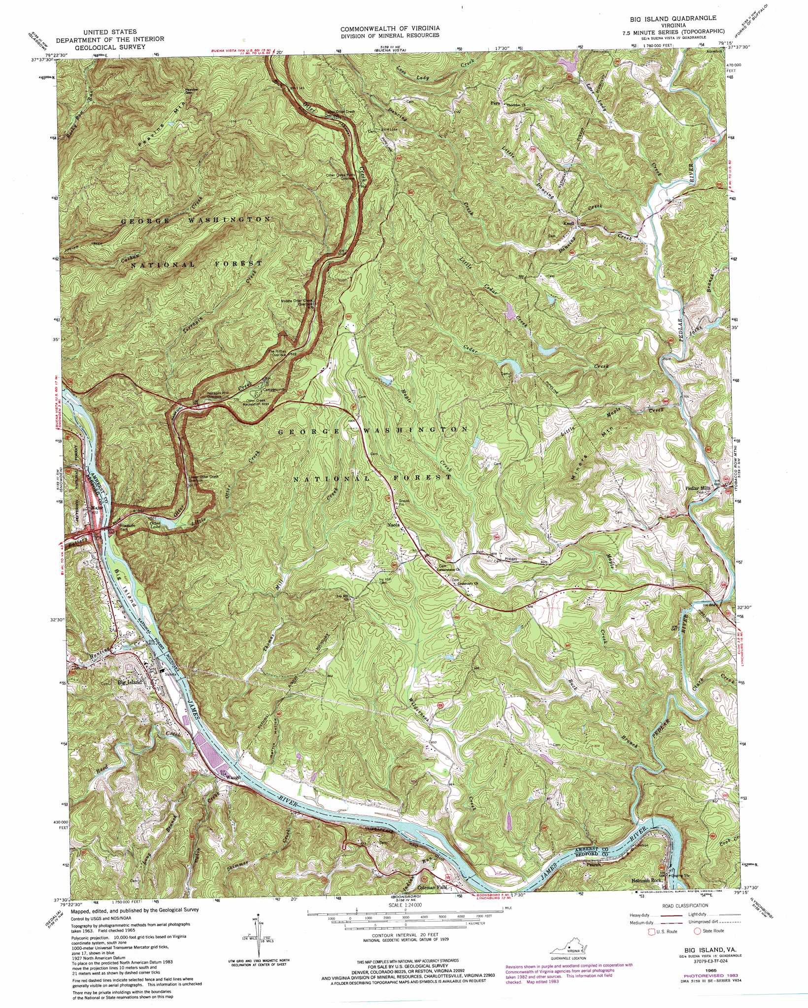 Big Island Topographic Map VA USGS Topo Quad E - Us geological survey topographic maps for sale