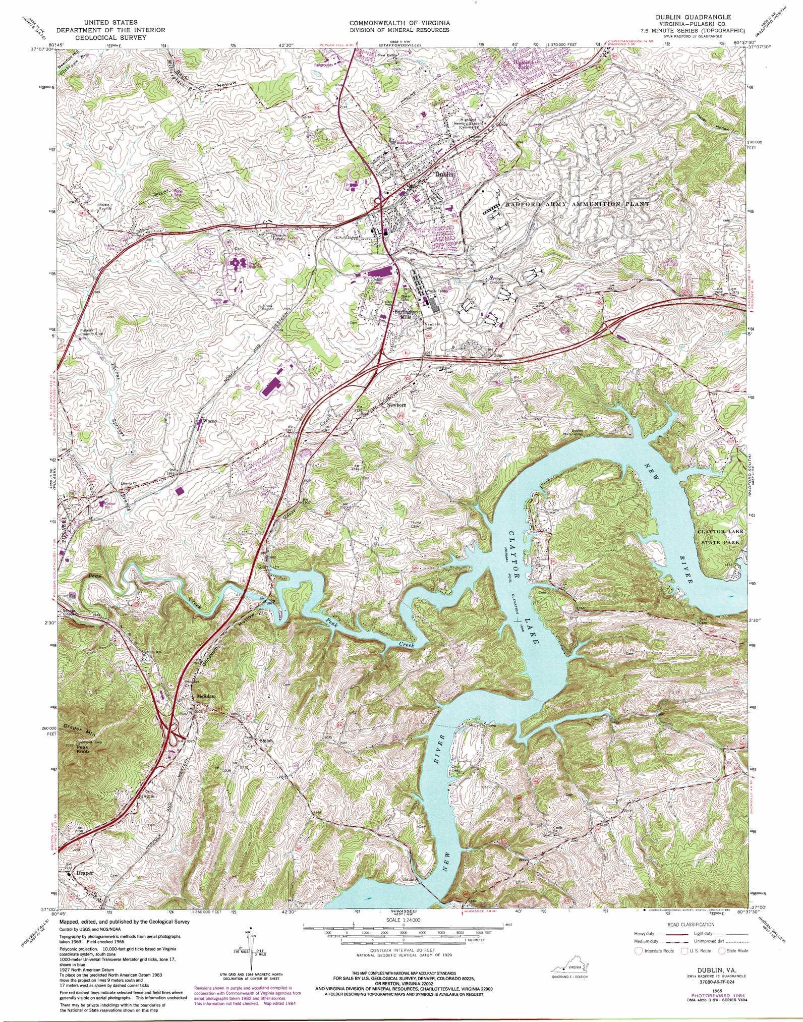 Dublin Topographic Map Va Usgs Topo Quad 37080a6