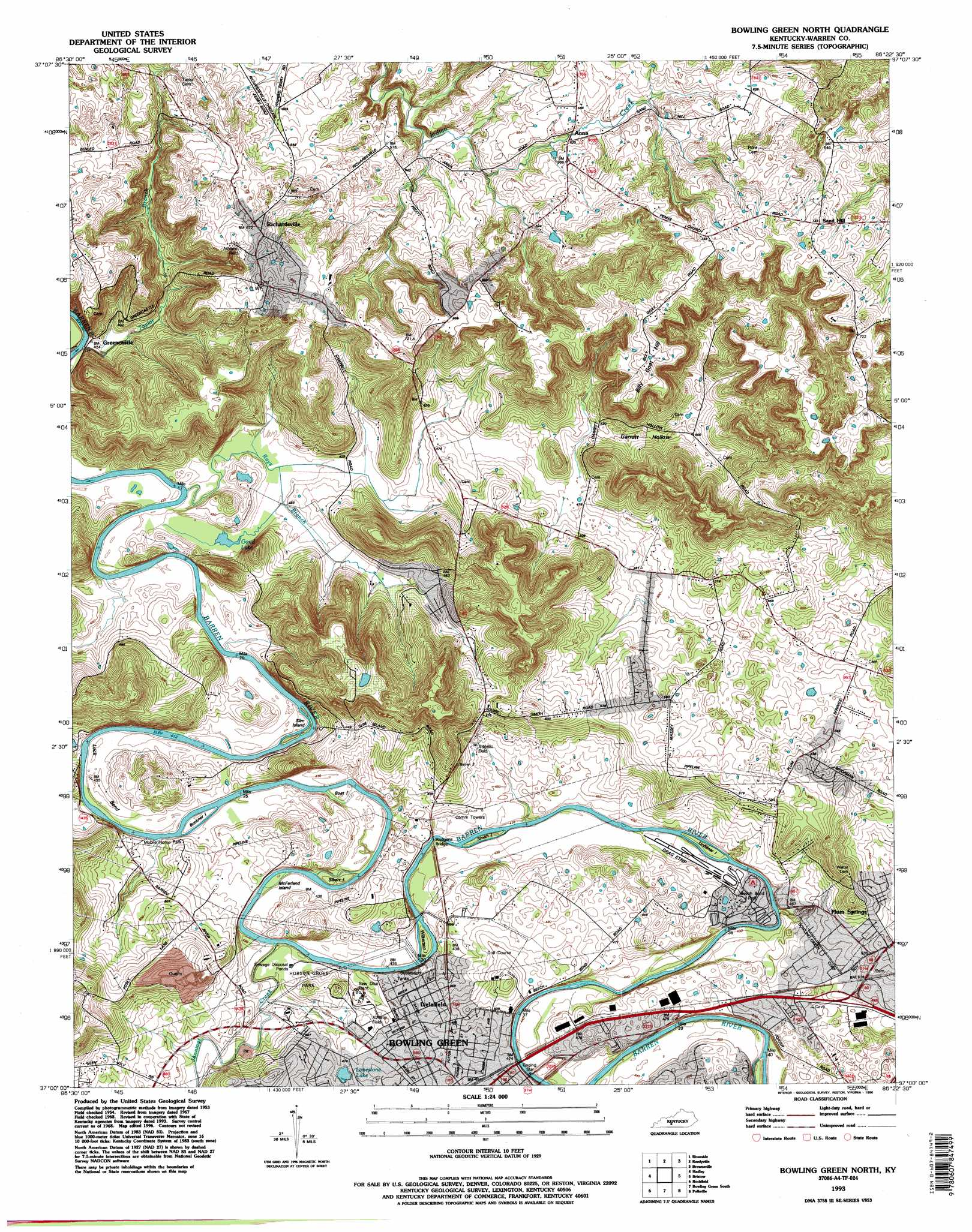 bowling green north. bowling green north topographic map ky  usgs topo quad a