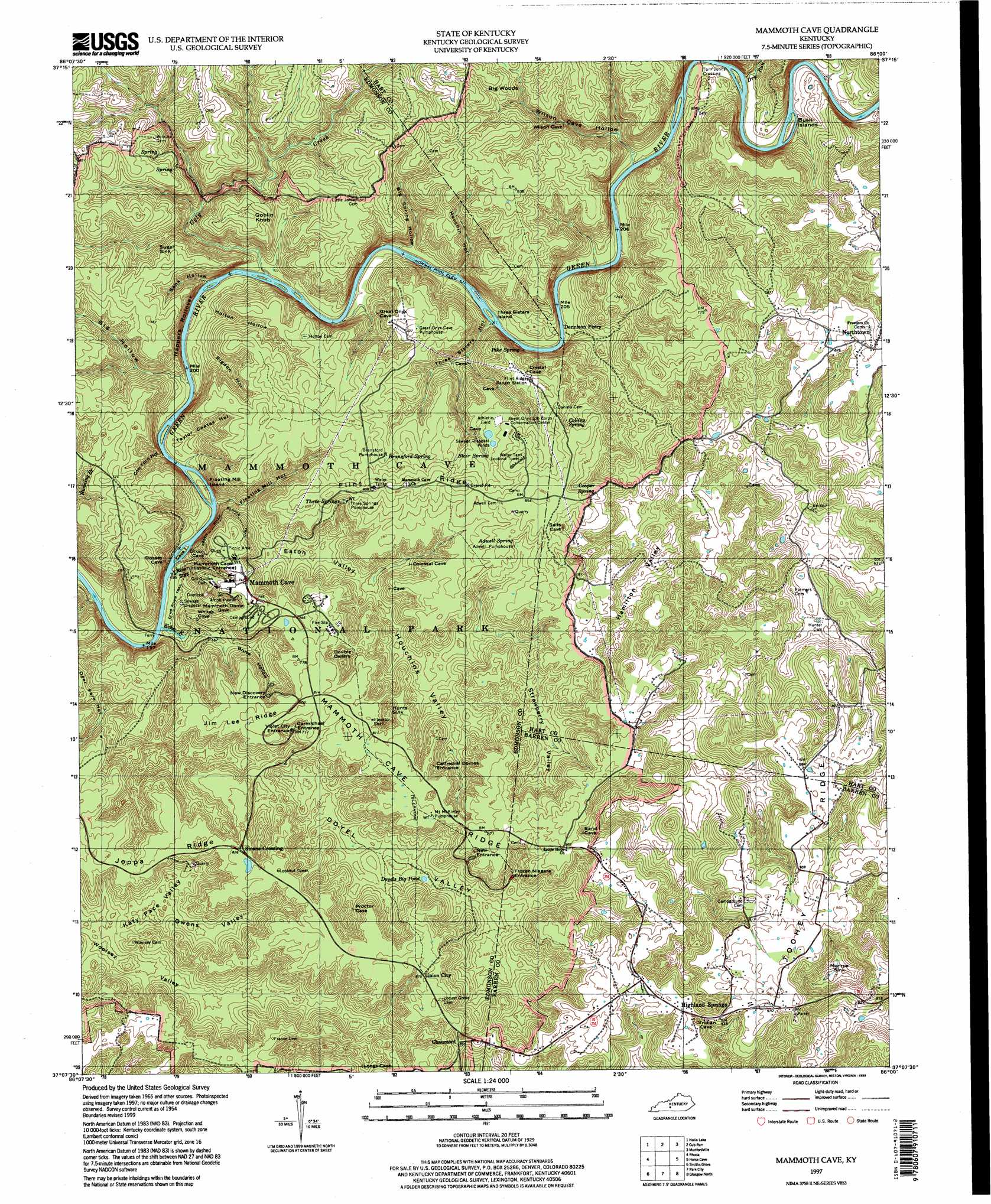 Mammoth Cave Topographic Map KY  USGS Topo Quad 37086b1