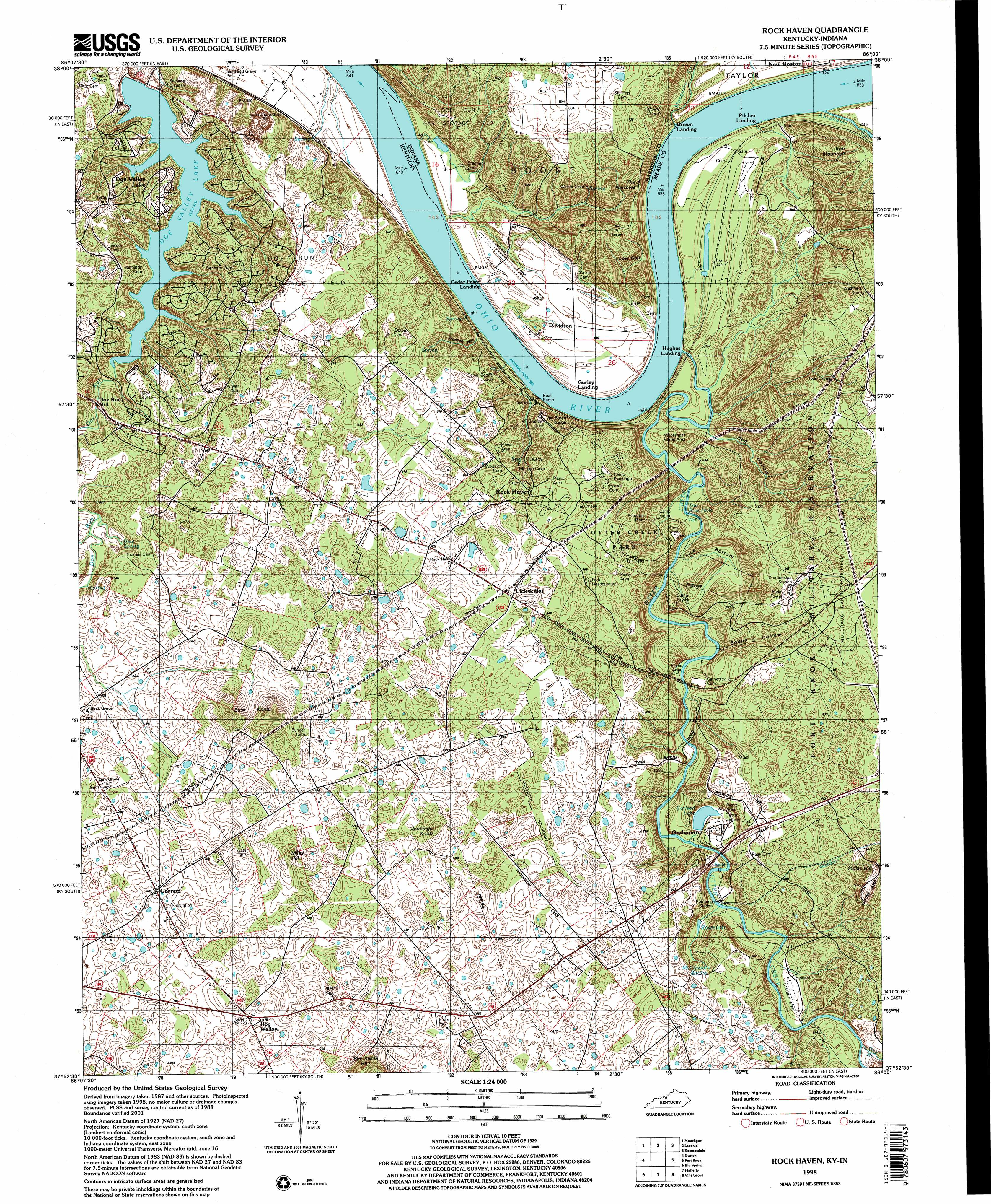 Rock Haven Topographic Map KY IN  USGS Topo Quad 37086h1