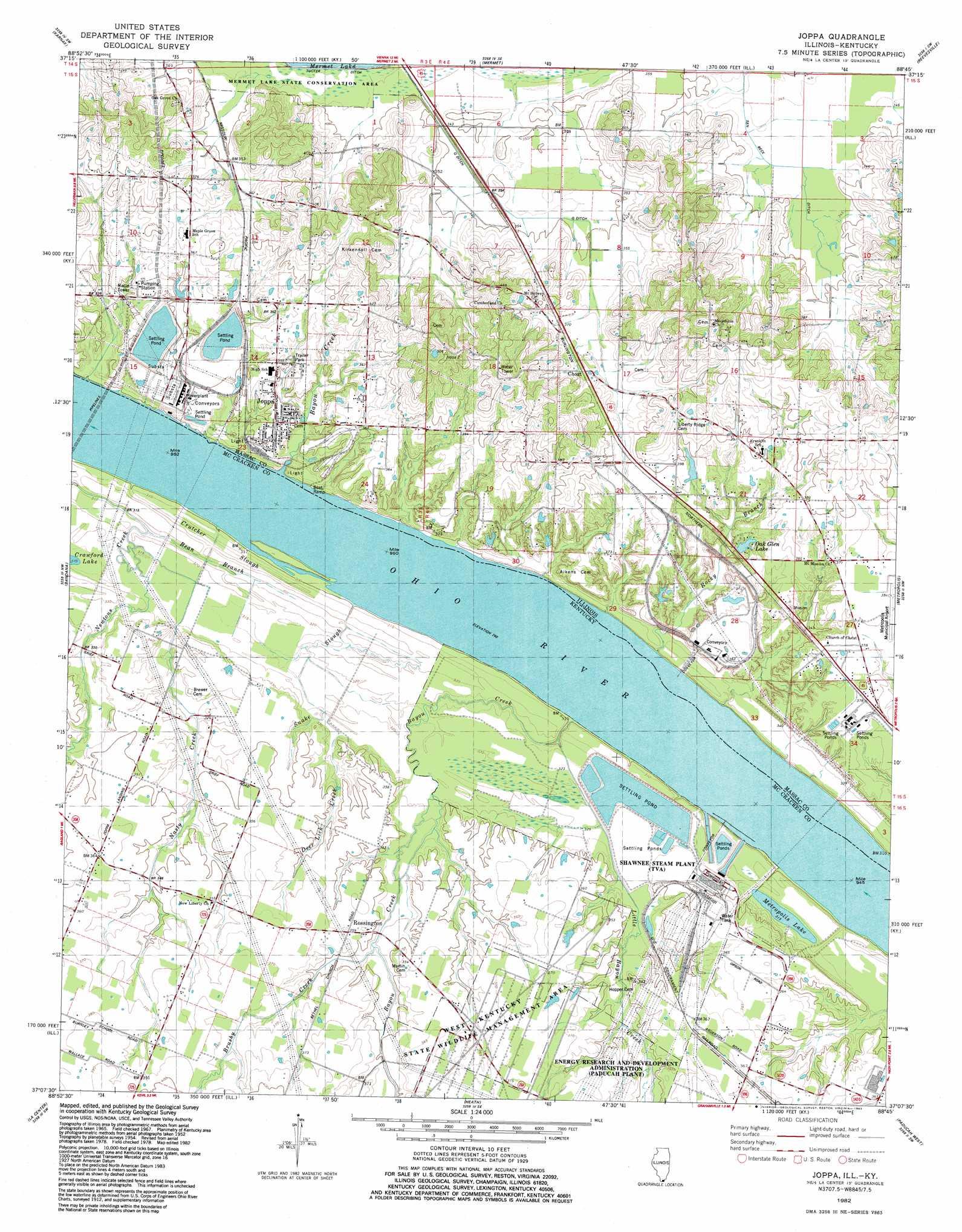 Joppa topographic map, KY, IL - USGS Topo Quad 37088b7