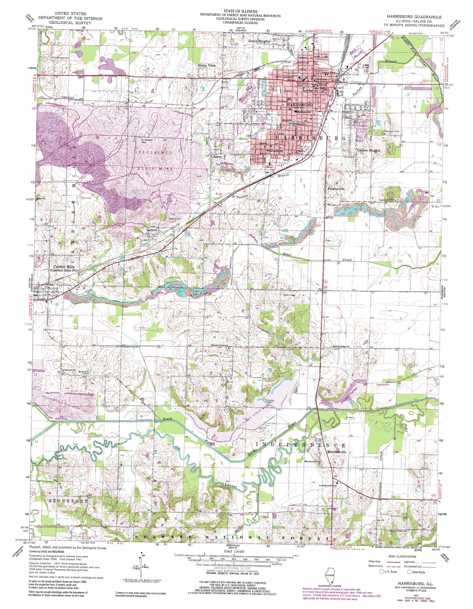 Harrisburg Topographic Map IL  USGS Topo Quad 37088f5