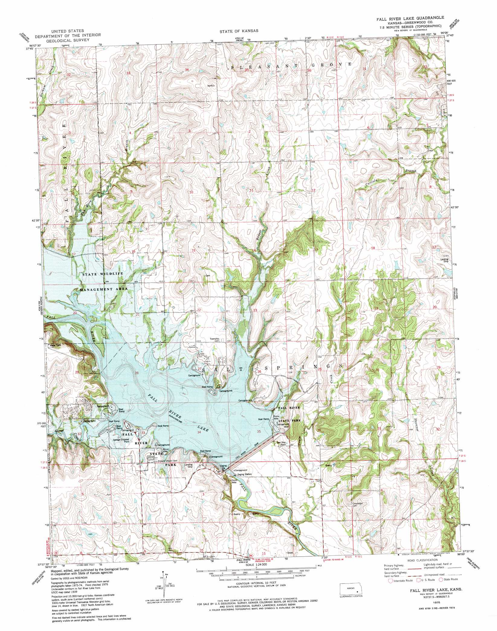 Fall River Lake topographic map KS USGS Topo Quad 37096f1