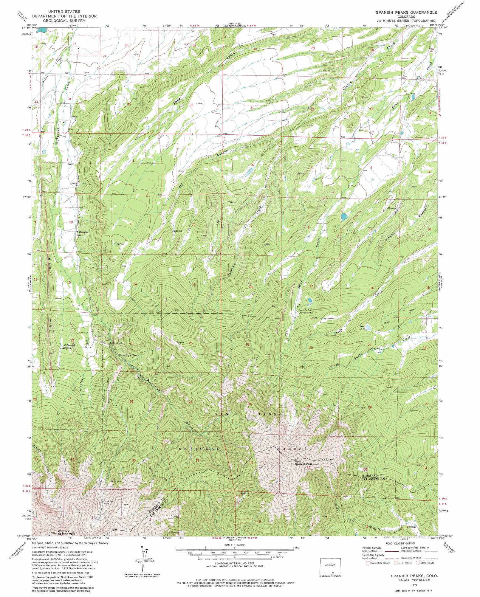 Topographical Map Of Spain.Spanish Peaks Topographic Map Co Usgs Topo Quad 37104d8
