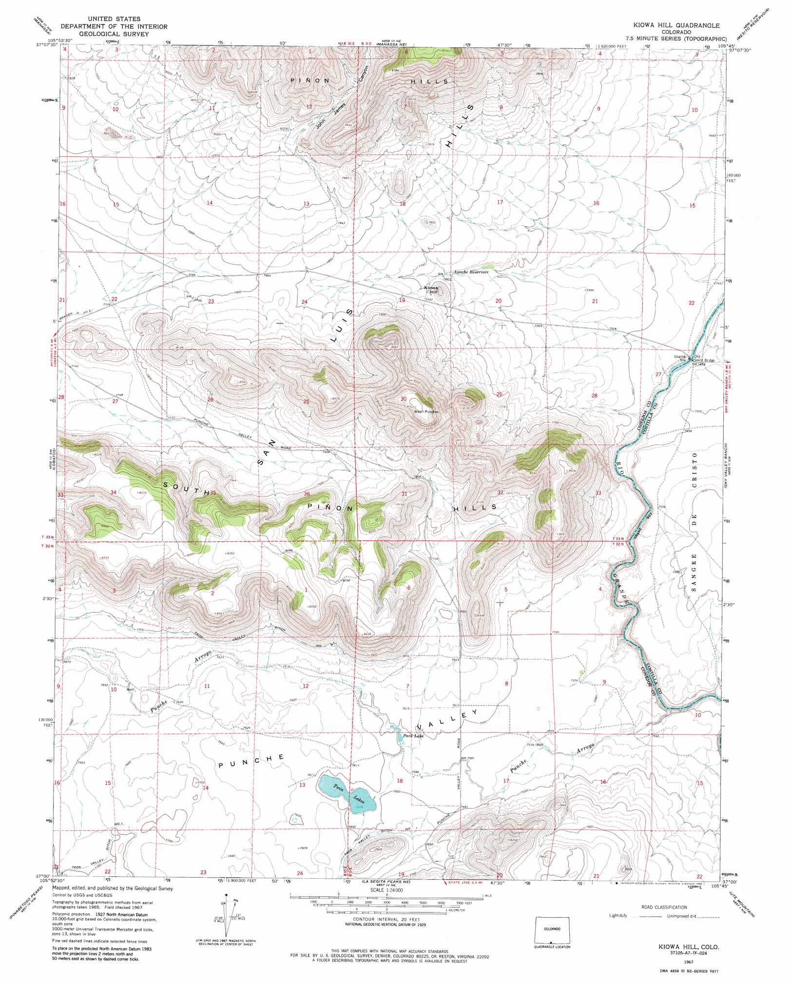 Kiowa Hill topographic map, CO - USGS Topo Quad 37105a7