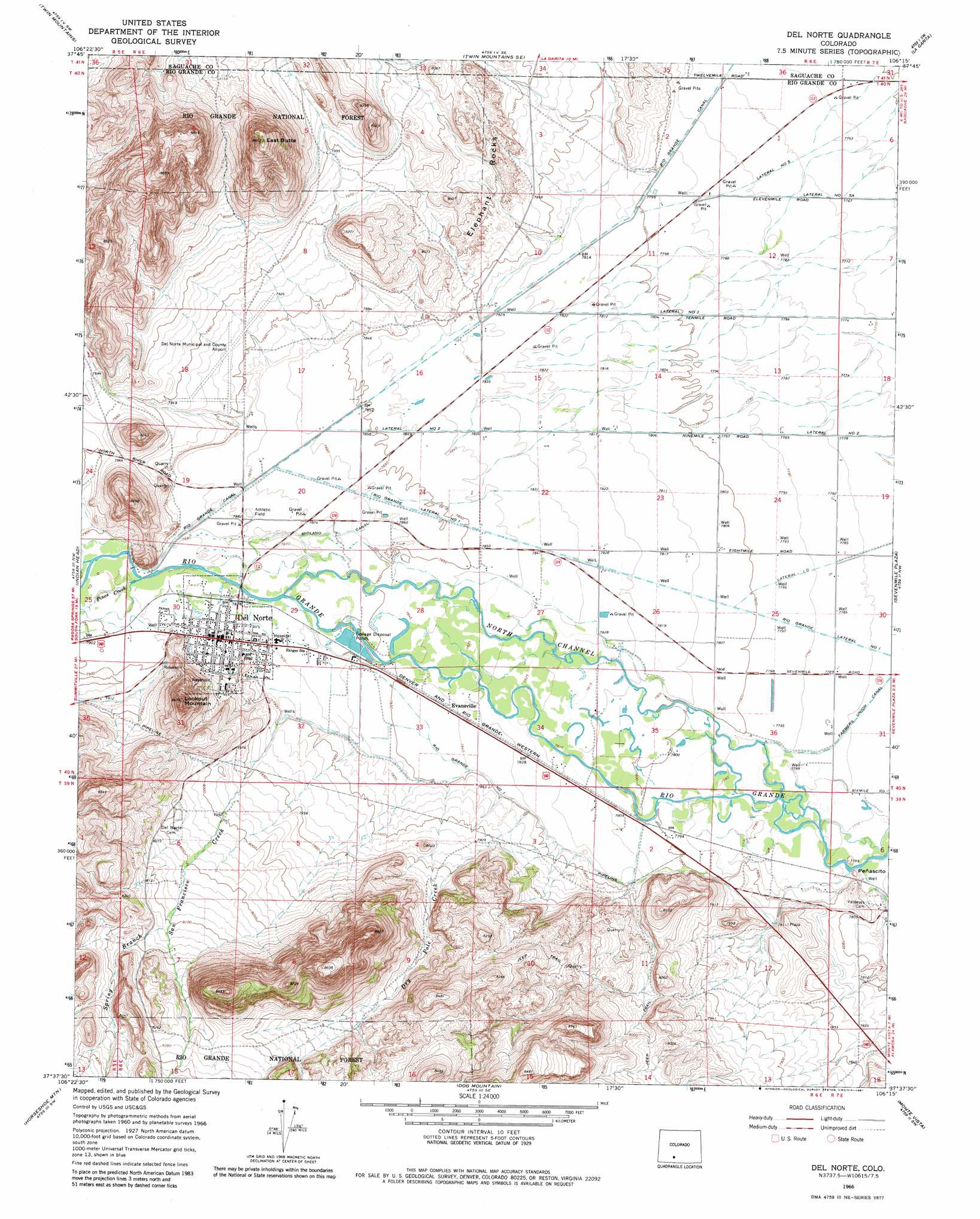 Del Norte Topographic Map CO  USGS Topo Quad 37106f3