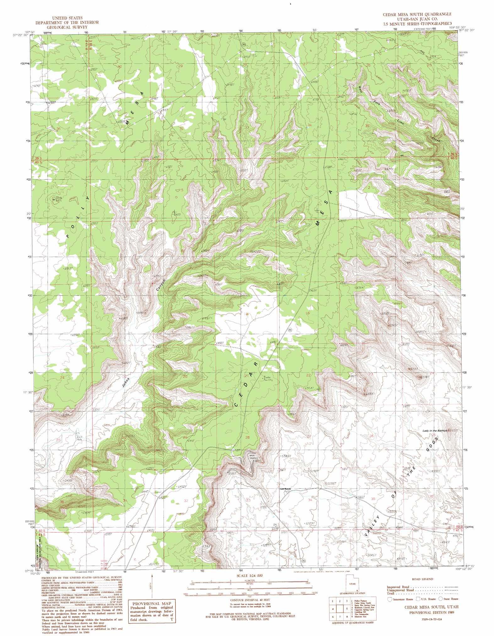 Cedar Mesa South Topographic Map Ut Usgs Topo Quad 37109c8