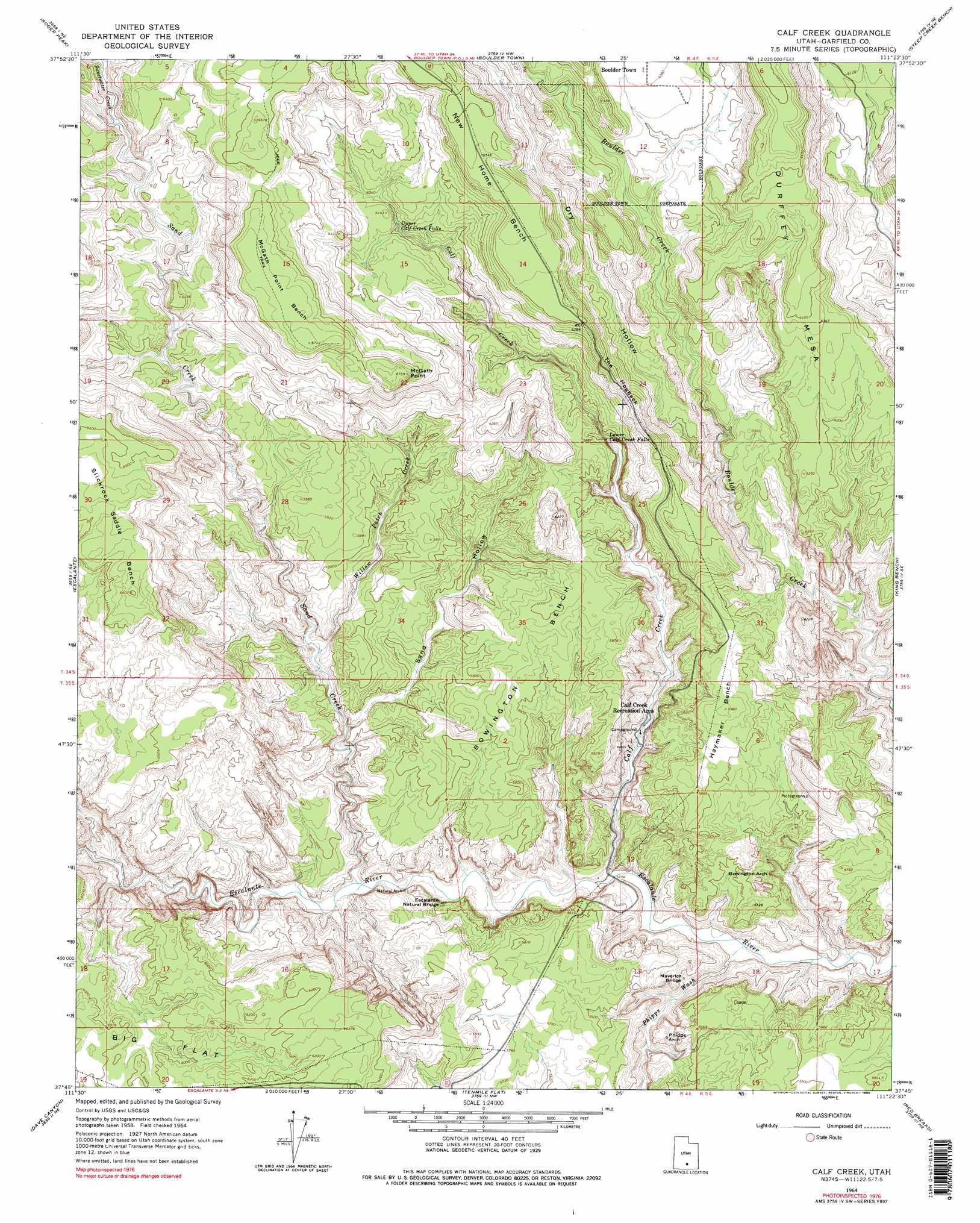 Calf Creek Topographic Map UT USGS Topo Quad G - Calf map